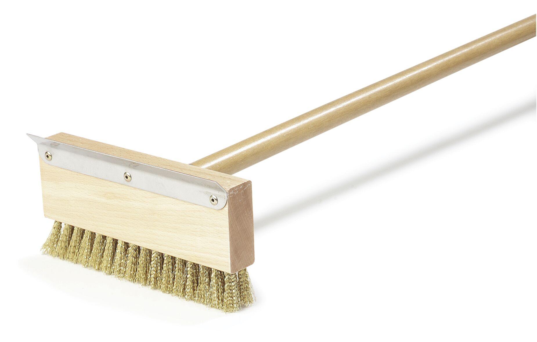 Oven Brush and Scraper with Brass Bristles