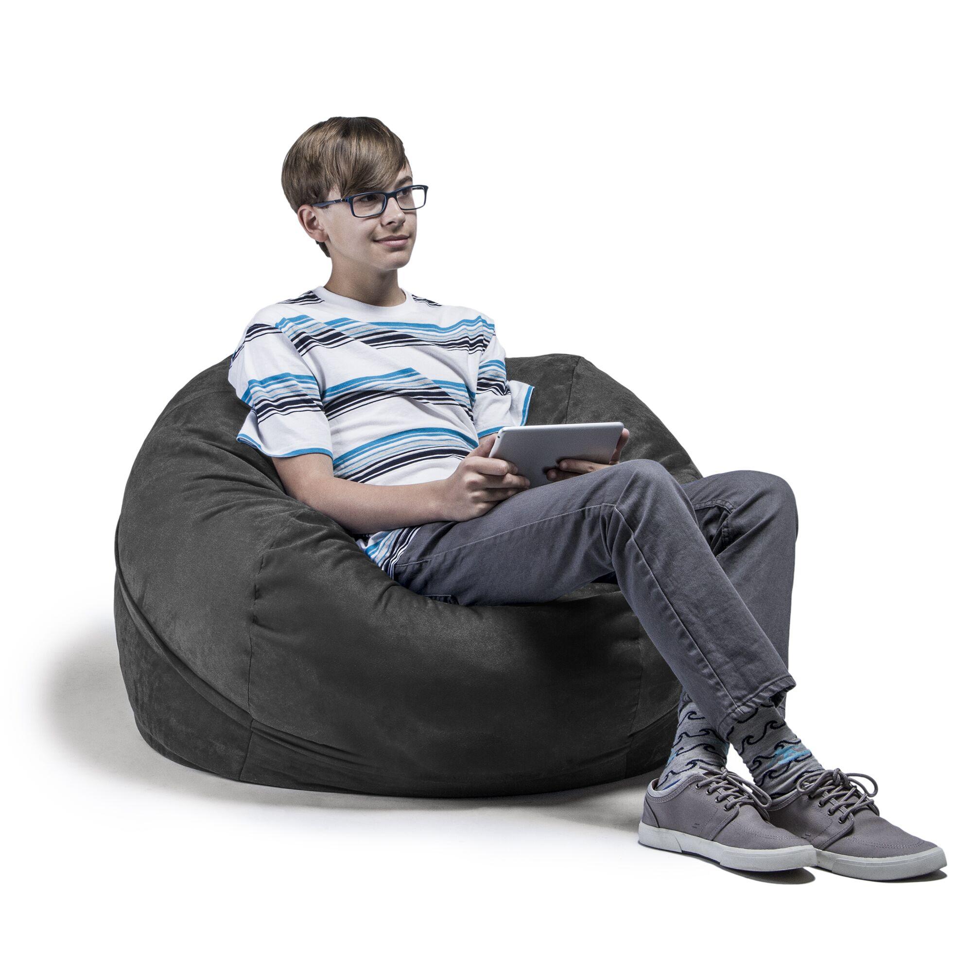 Kids Bean Bag Chair Upholstery: Microsuede Charcoal