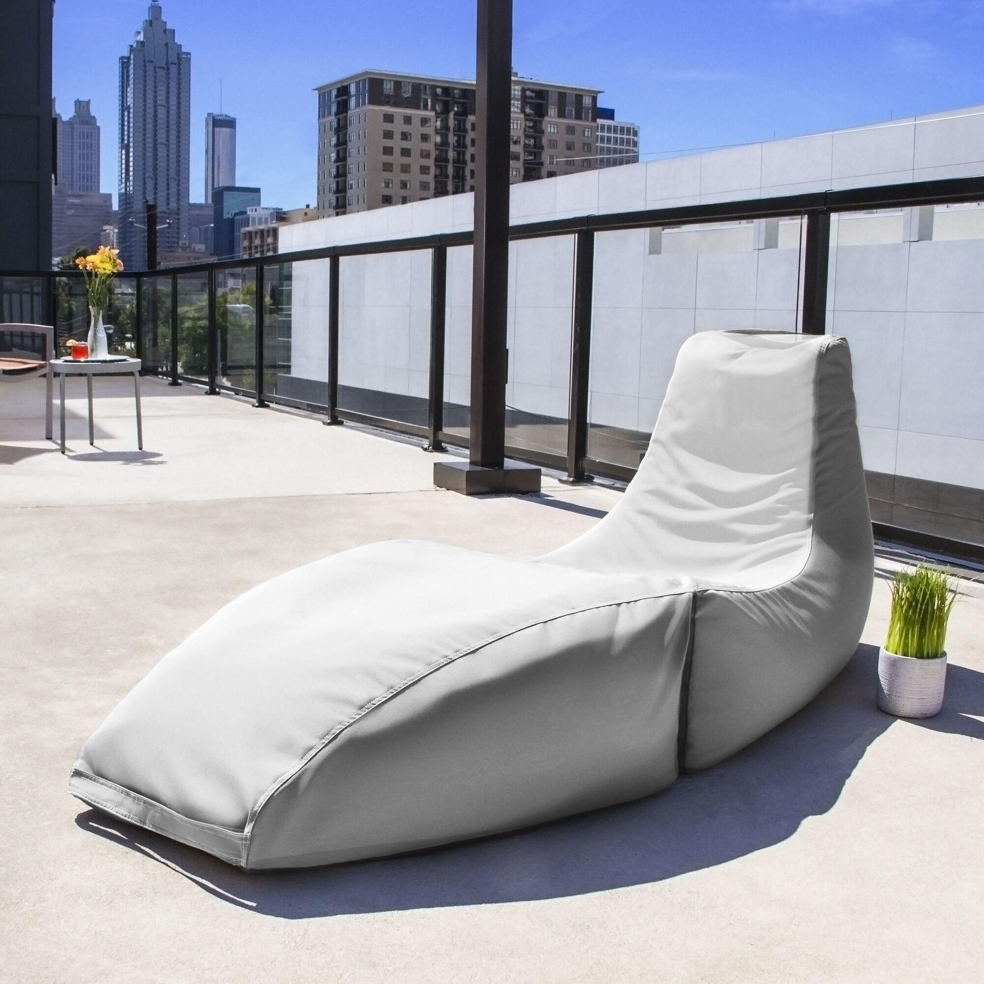 Prado Outdoor Bean Bag Chaise Lounge Chair Color: White