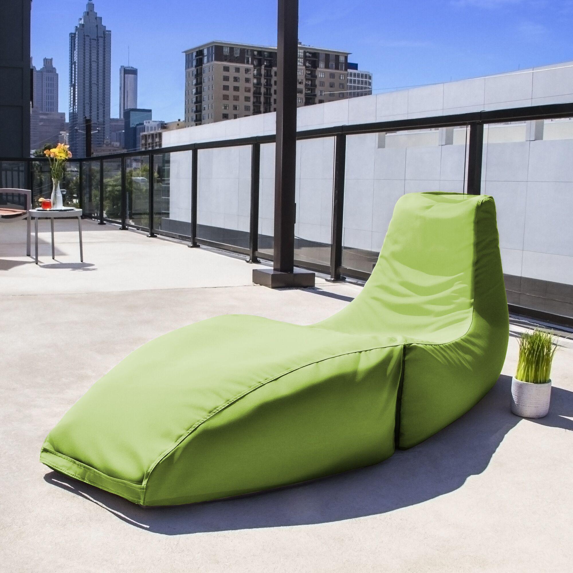 Prado Outdoor Bean Bag Chaise Lounge Chair Color: Lime Green