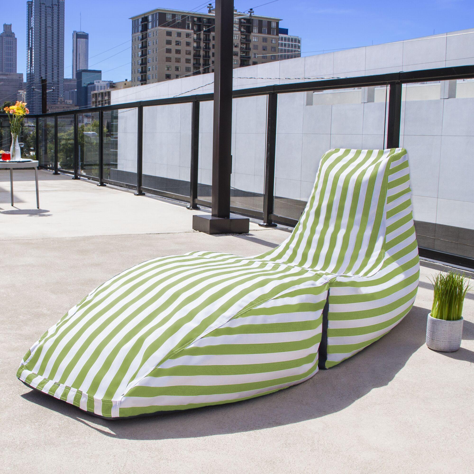 Prado Outdoor Striped Bean Bag Chaise Lounge Chair Color: Lime Stripe