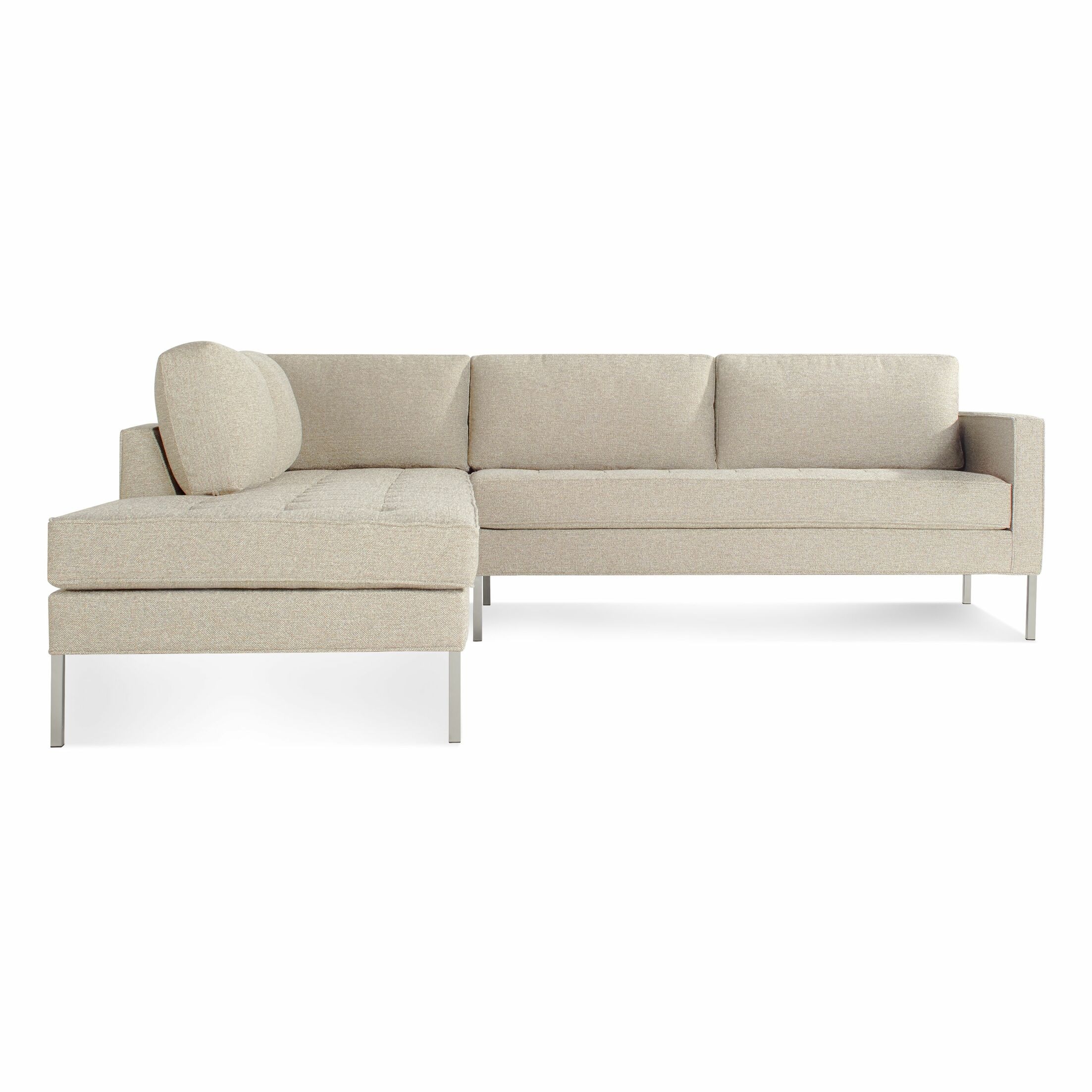 Paramount Sectional Sofa Body Fabric: Sanford Oatmeal, Leg Color: Stainless Steel, Sectional Orientation: Left Hand Facing