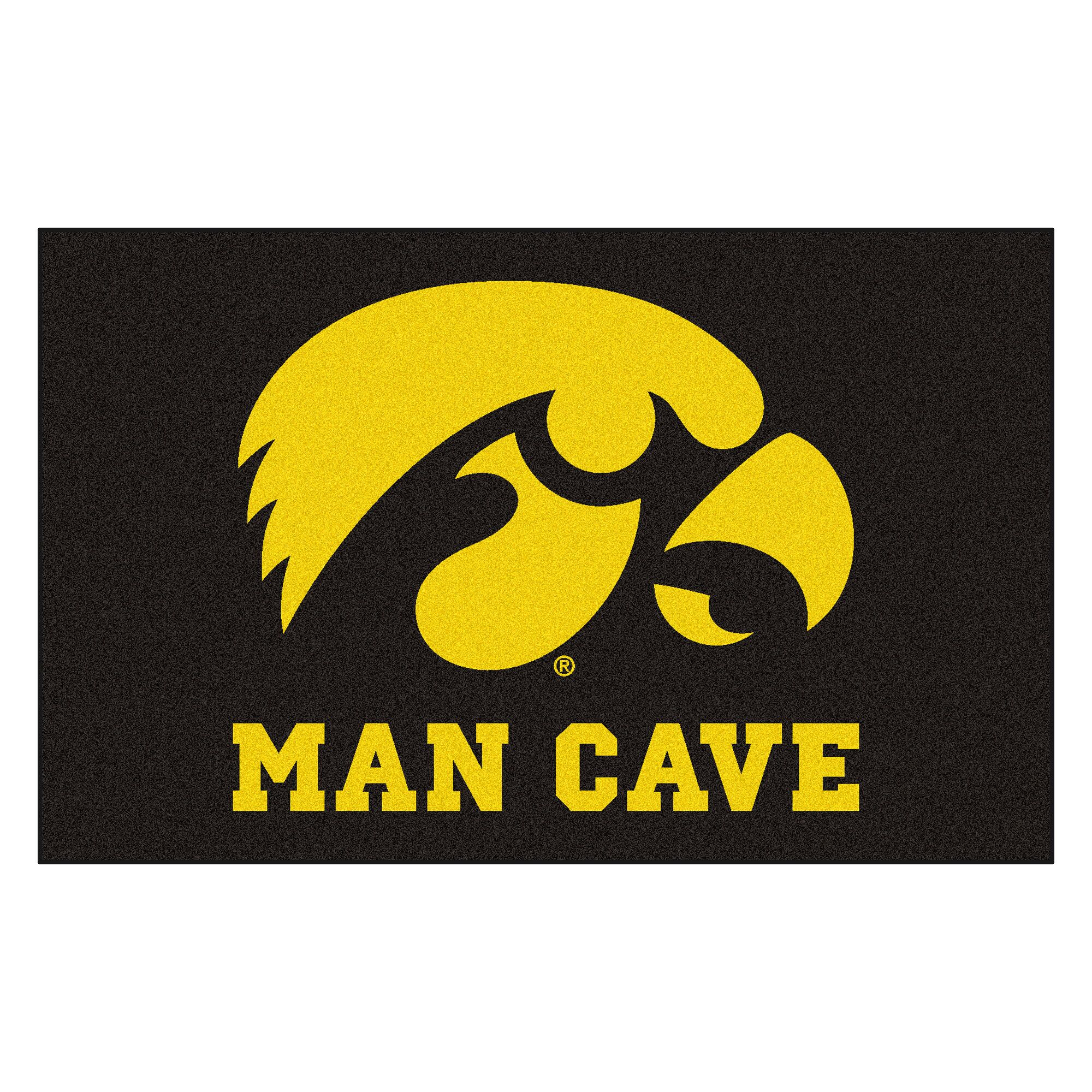 Collegiate NCAA University of Iowa Man Cave Doormat