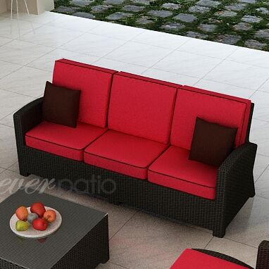 Barbados Sofa with Cushions Fabric: Flagship Ruby / Canvas Bay Brown Welt