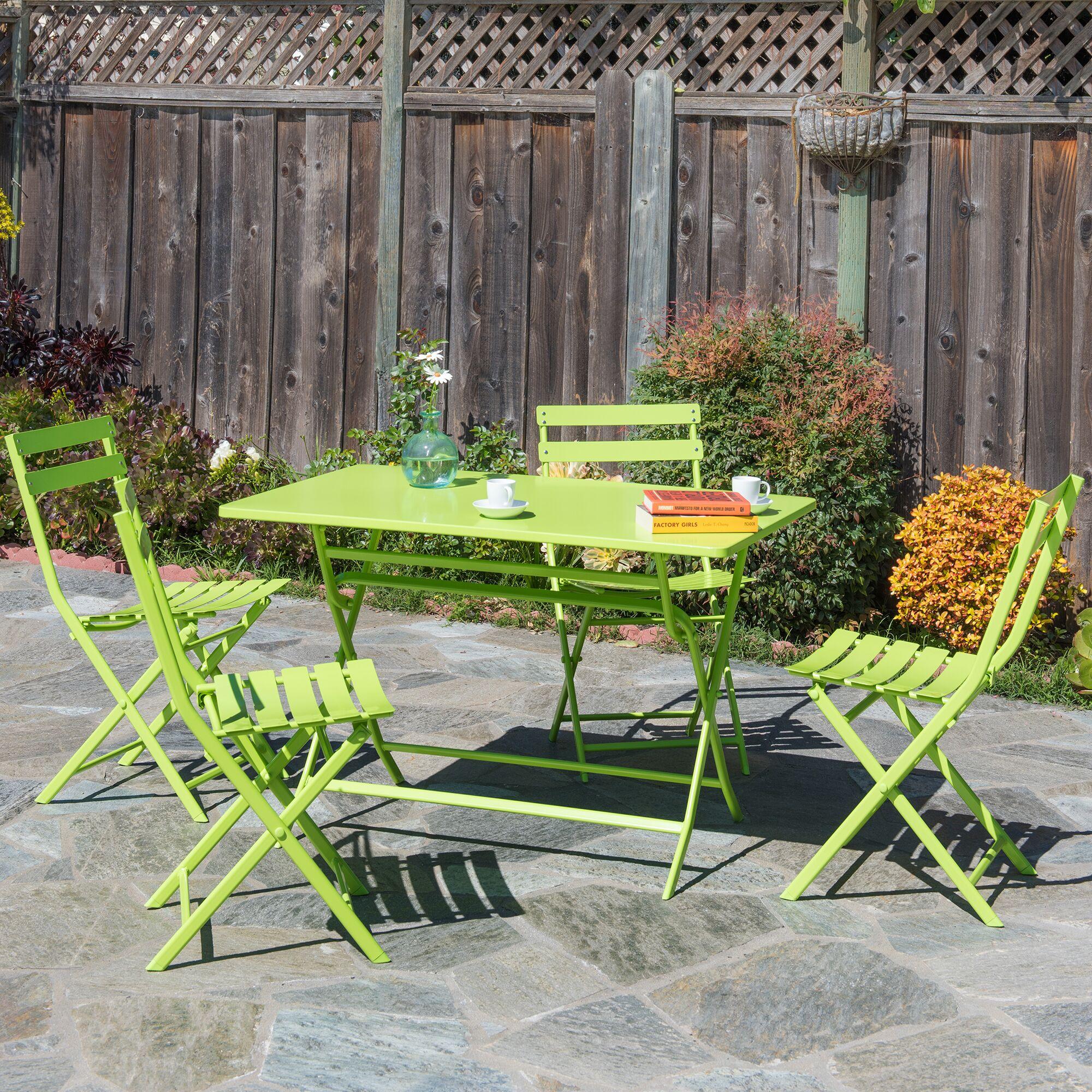 Trey Rectangular Steel Patio Folding 5 Piece Bistro Set Finish: Green