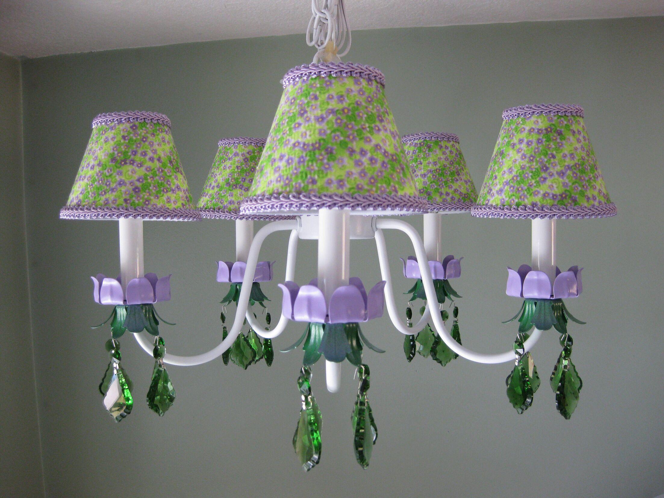 Lavender Fields 5-Light Shaded Chandelier Shade: Lavender Fields