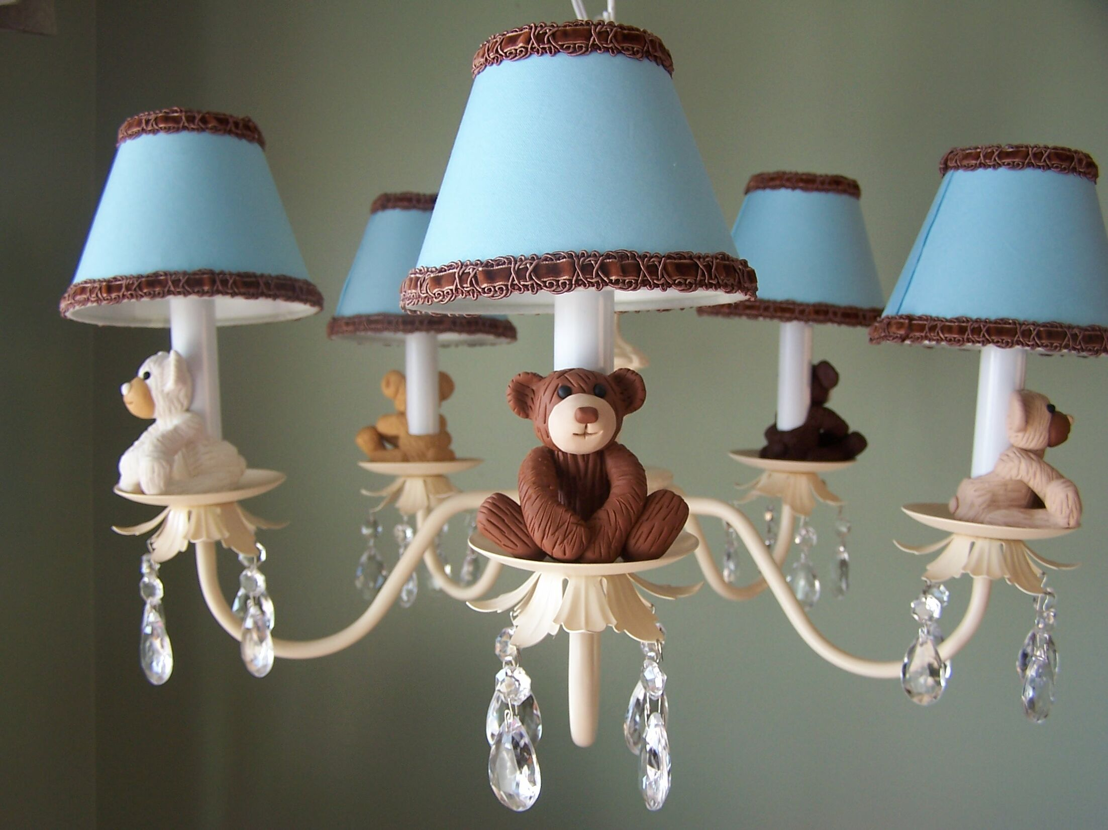 Teddy Time 5-Light Shaded Chandelier Shade: Striped Clamshell