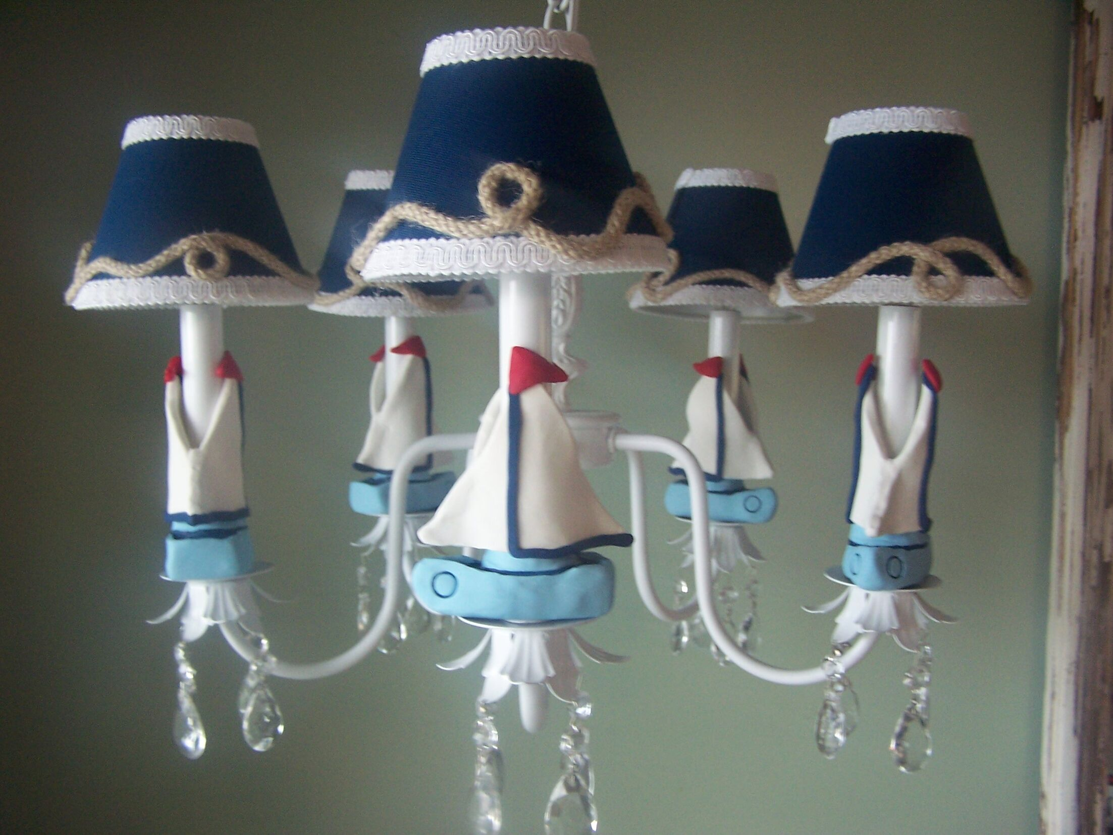 Nautical Sailboats 5-Light Shaded Chandelier Shade: Sail Away With Me