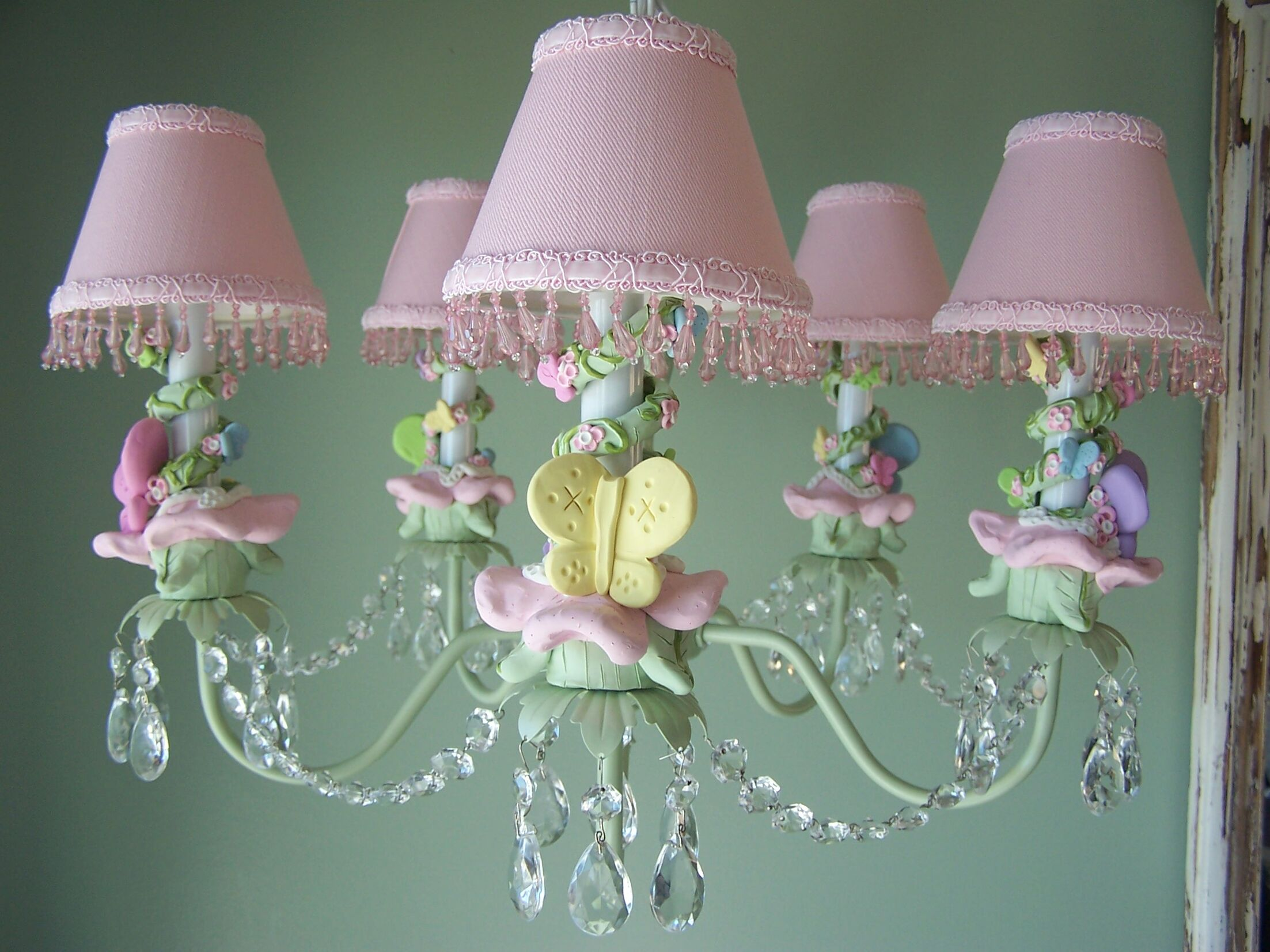 Pastel Climbing Vine Butterfly 5-Light Shaded Chandelier Shade: Pixie Wish