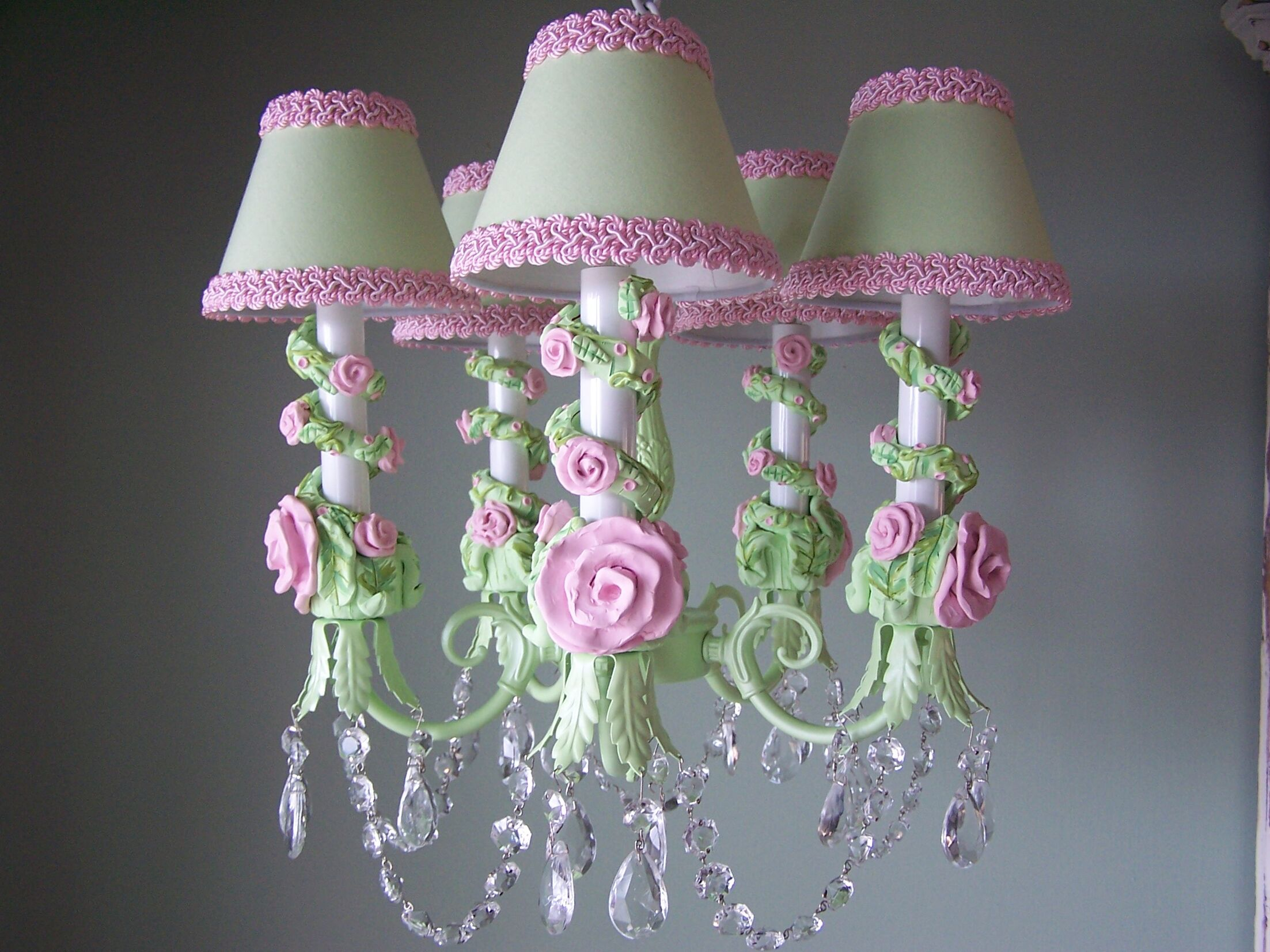Petite in Bloom 5-Light Shaded Chandelier Shade: Plush Blush Pink