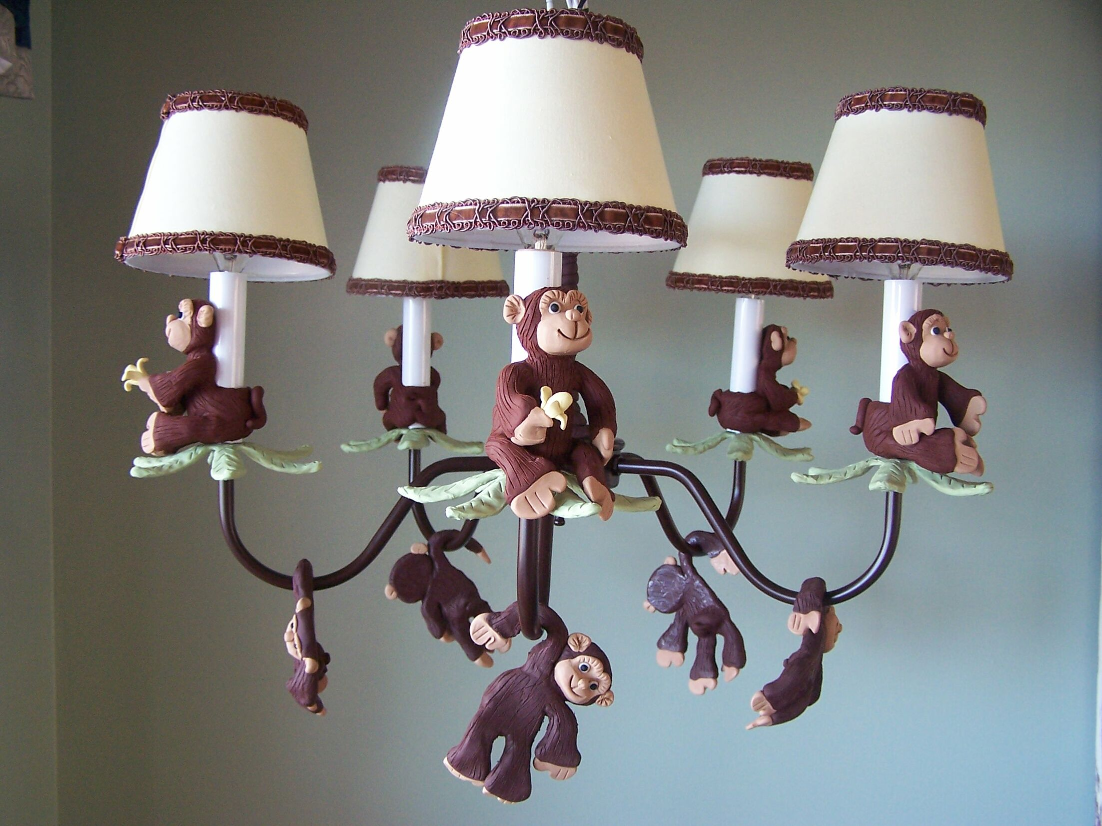 Monkey Business 5-Light Shaded Chandelier Shade: Goin Bananas