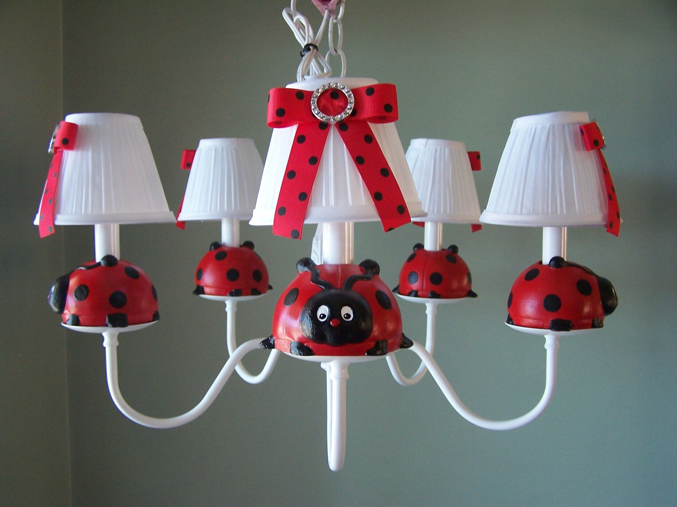 Little Ladybug 5-Light Shaded Chandelier Shade: Cherry Dot