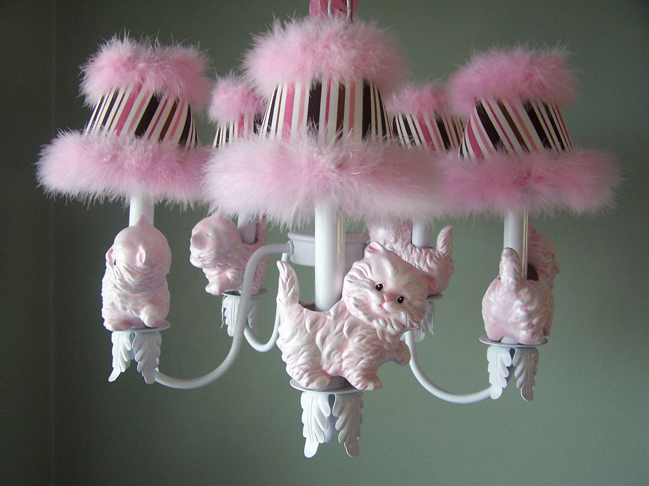 Prissy Kitty 5-Light Shaded Chandelier Shade: Primrose Pink