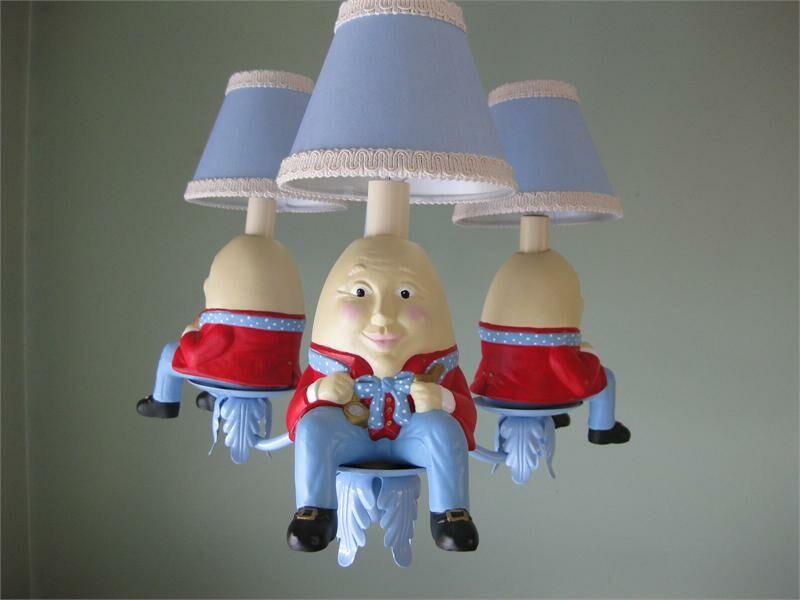Humpty Dumpty 3-Light Shaded Chandelier Shade: Boat Rocking Blue