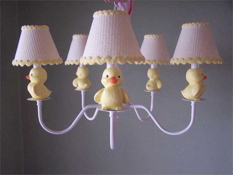 Rubber Duckie 5-Light Shaded Chandelier Shade: Delightful Dots Lemonade