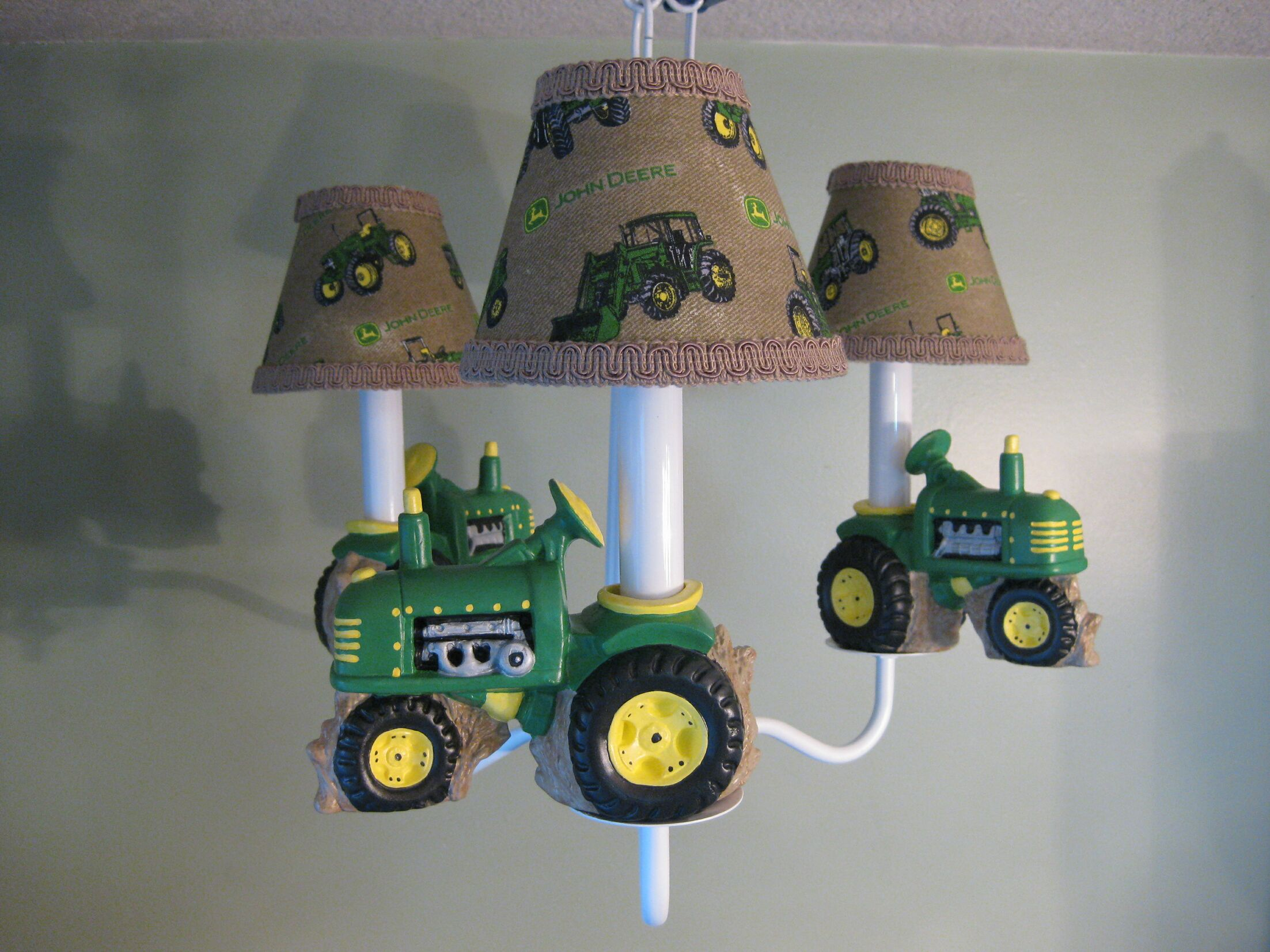 Farm Tractors 4-Light Shaded Chandelier Shade: Tractor Plaid
