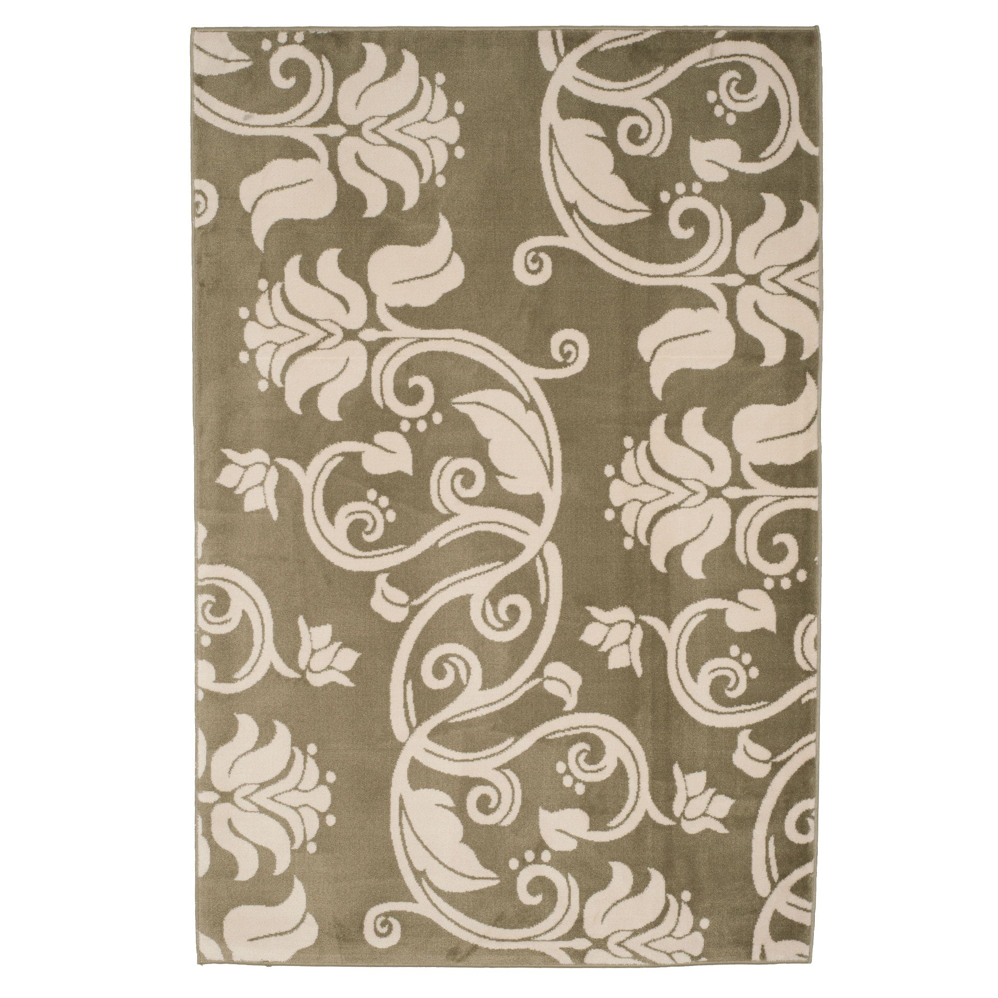 Floral Scroll Green & Ivory Area Rug Rug Size: Rectangle 5' x 7'6