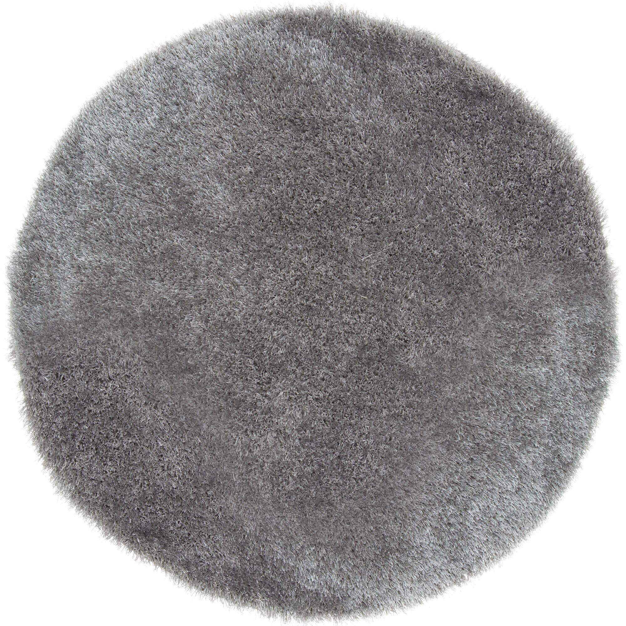 Rusnak Gray Shag Area Rug Rug Size: Round 5'