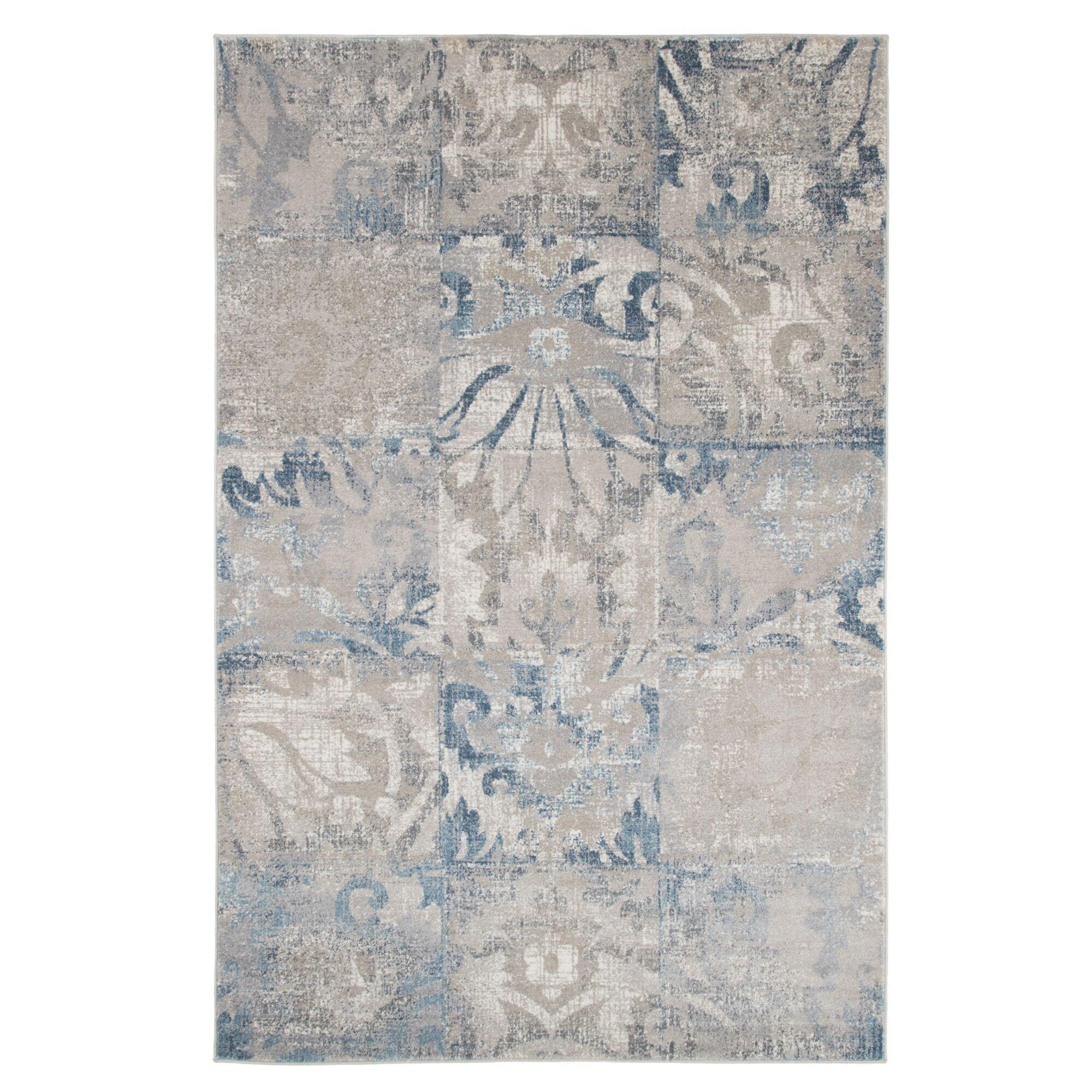 Beige/Blue Area Rug Rug Size: 5' x 7'7