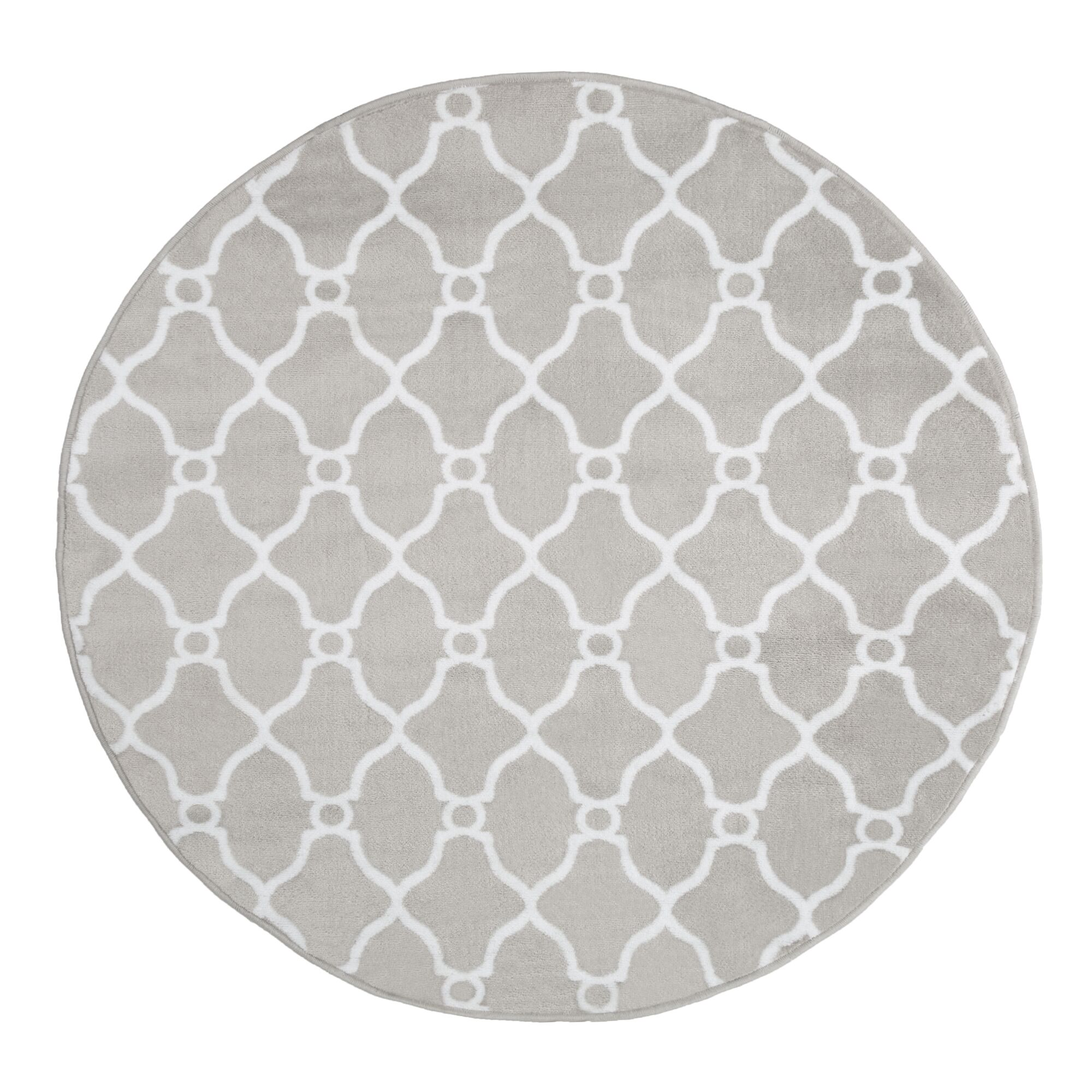 Lattice Gray Area Rug Rug Size: 5' Round