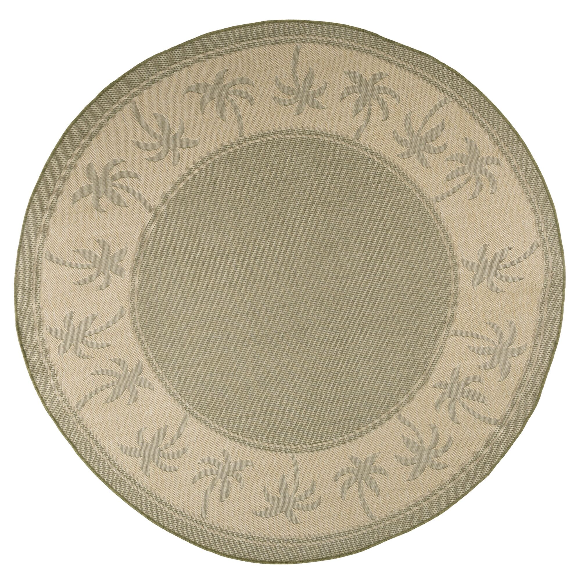 Palm Trees Green Indoor/Outdoor Area Rug Rug Size: Round 8'