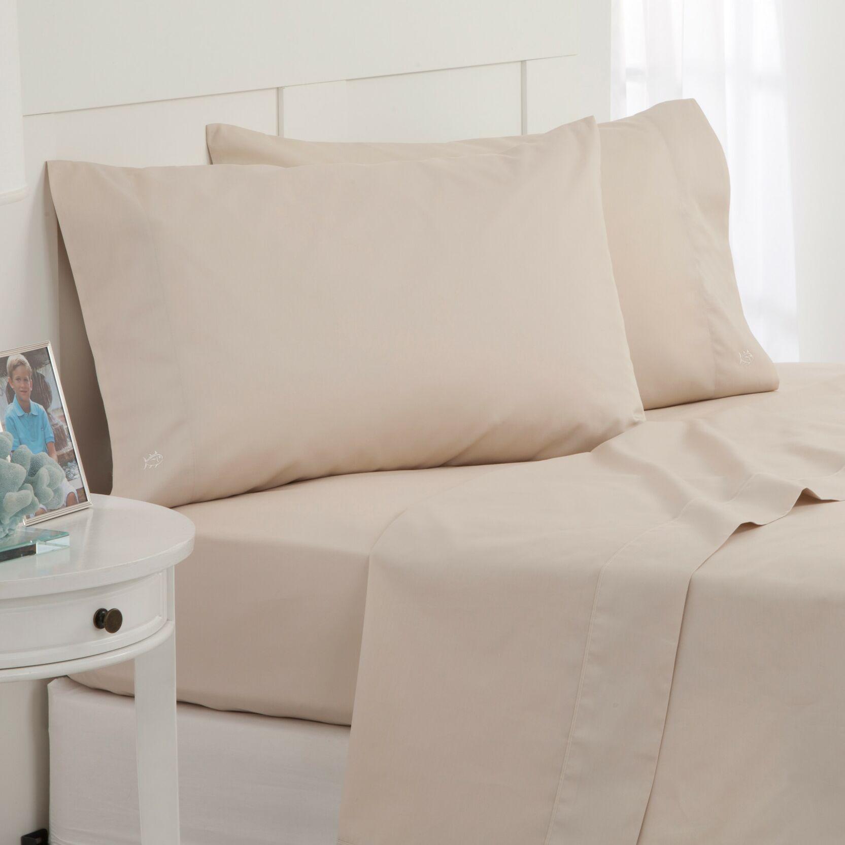 Skipjack 300 Thread Count 100% Cotton Sheet Set Color: Sand, Size: King