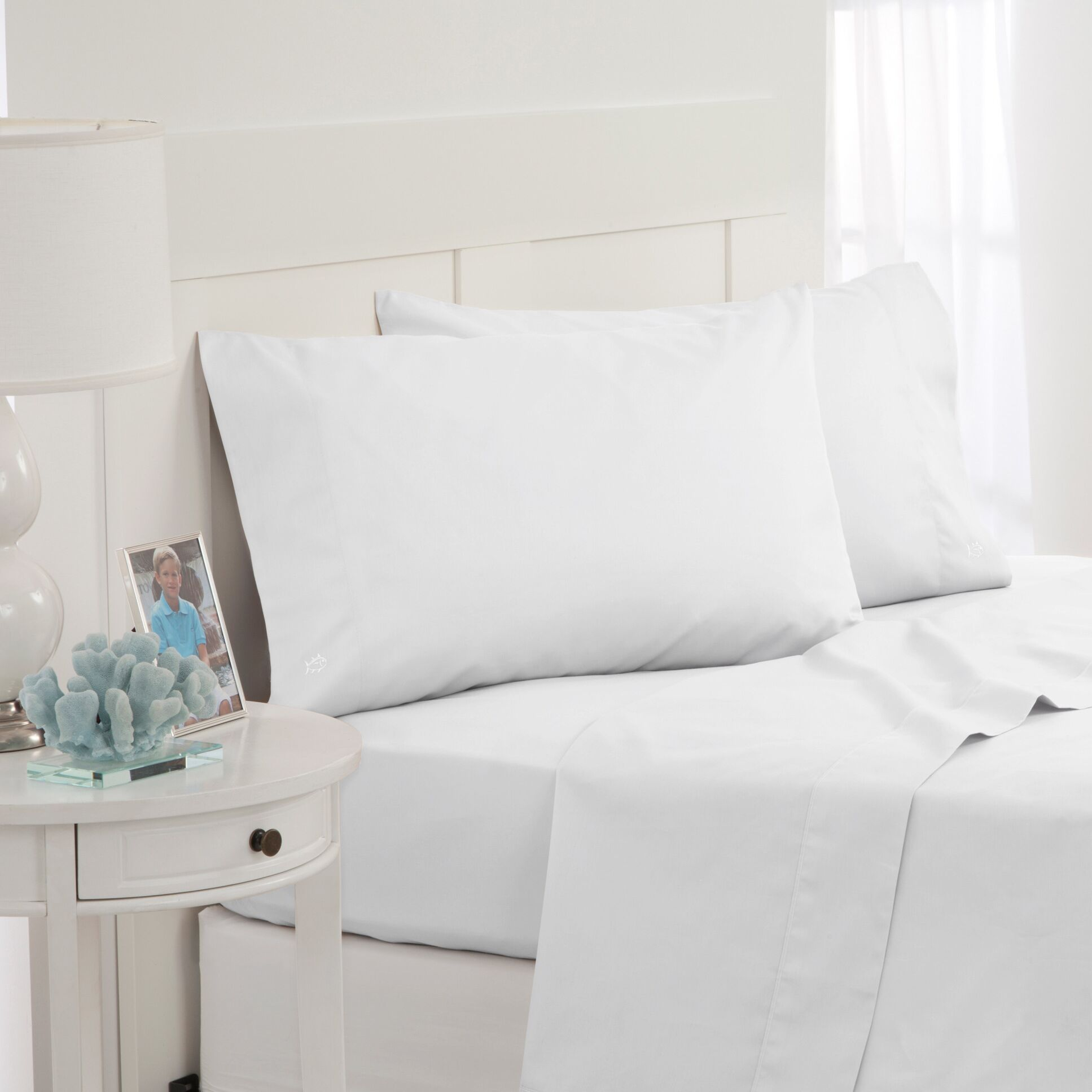 Skipjack 300 Thread Count 100% Cotton Sheet Set Color: White, Size: Full