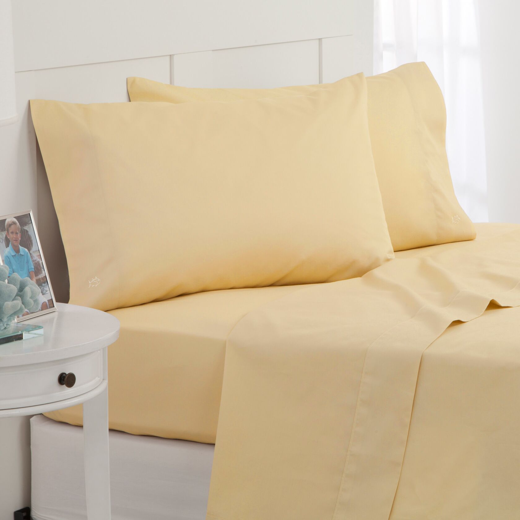 Skipjack 300 Thread Count 100% Cotton Sheet Set Color: Yellow, Size: King