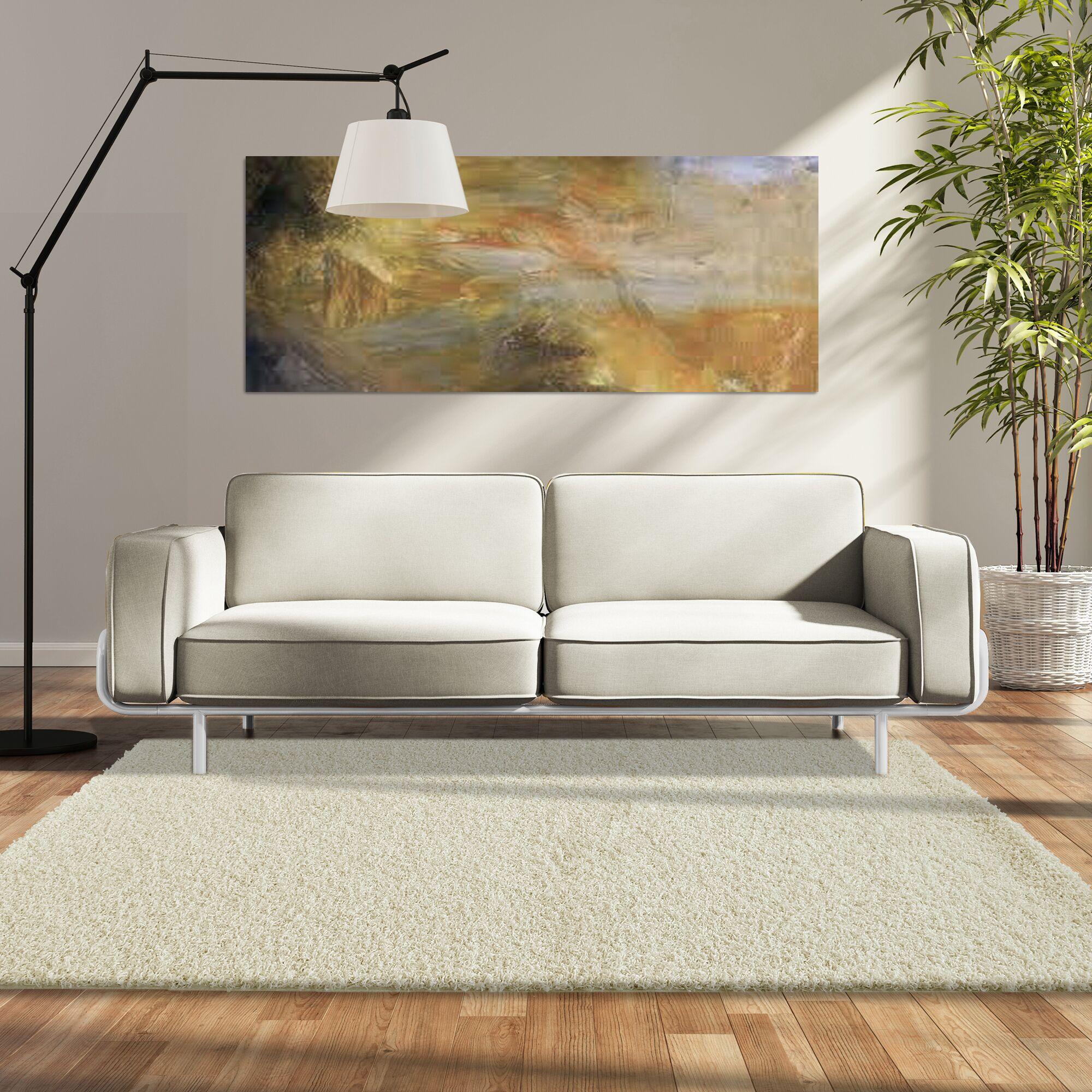 Modern Shag White Area Rug Rug Size: 4' x 6'