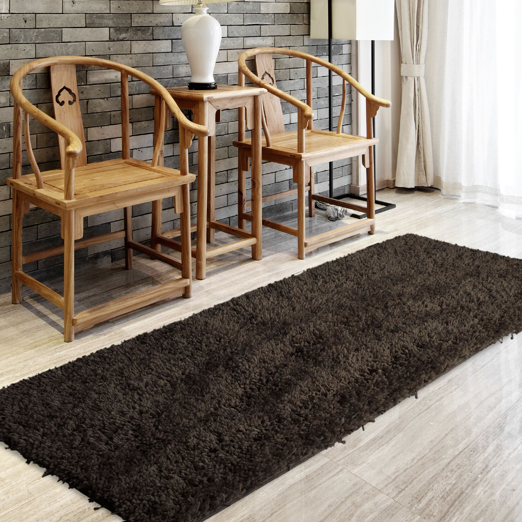 Soft Shag Hand Woven Espresso Area Rug Rug Size: Rectangle 6' x 9'