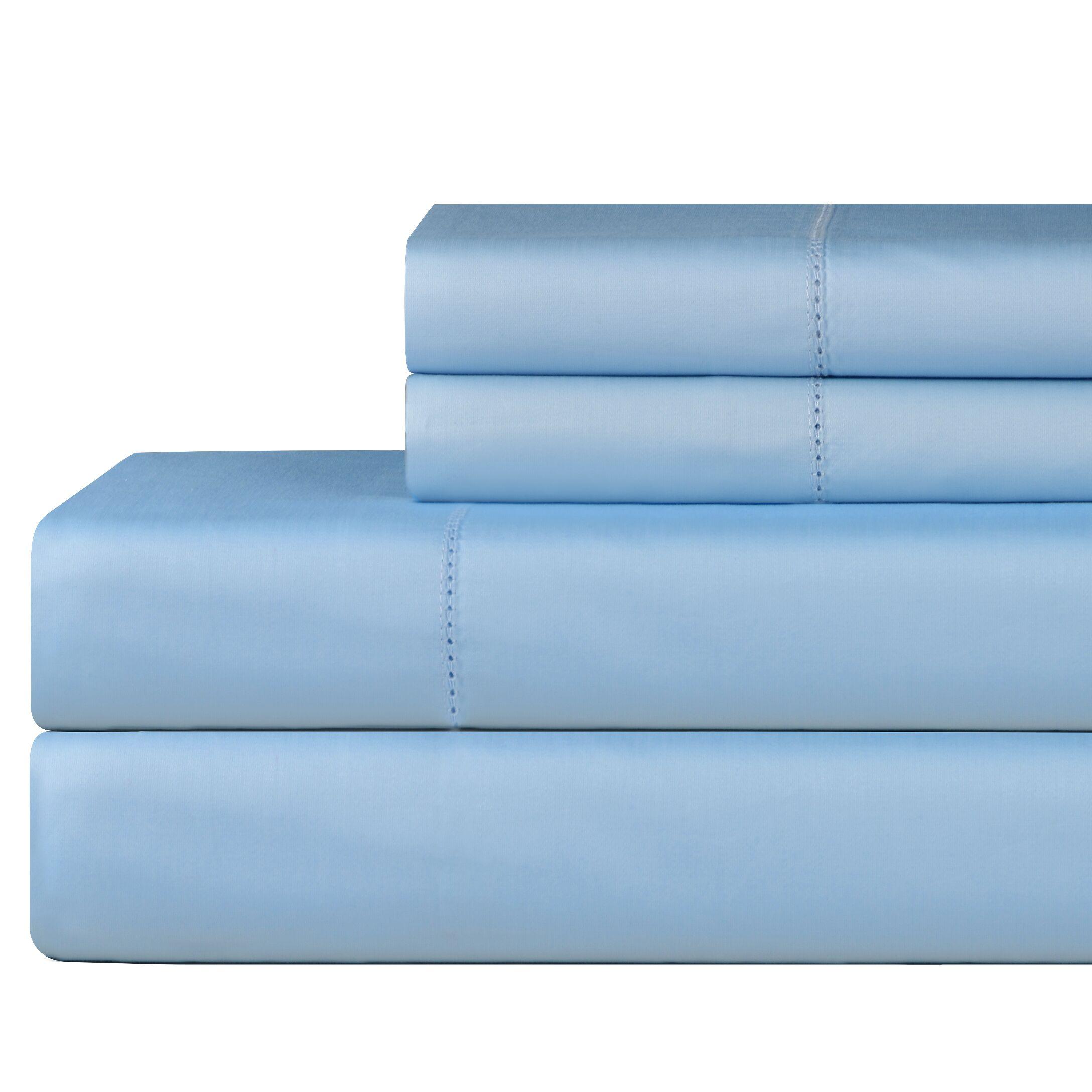 610 Thread Count 4 Piece Pima Cotton Sheet Set Size: California King, Color: Spa Blue