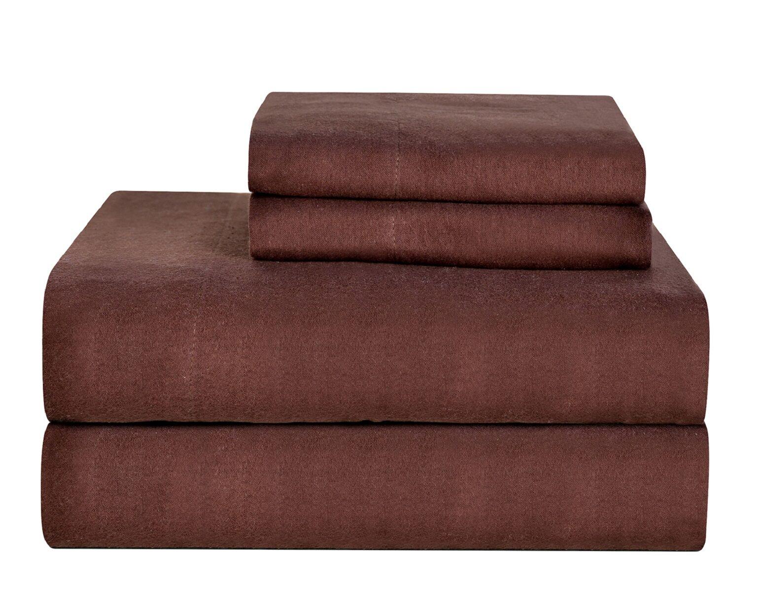 Celeste Home Ultra Soft Flannel Cotton Sheet Set Size: Twin, Color: Coffee Bean