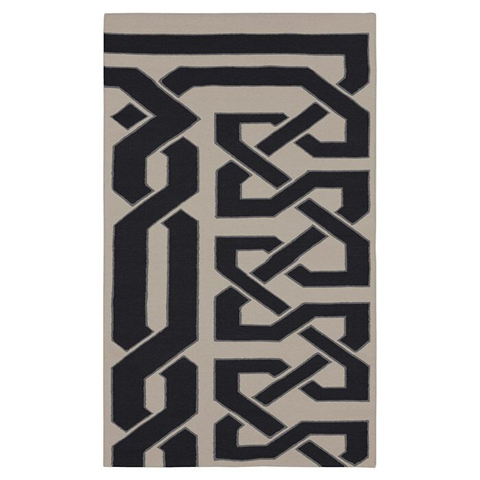 Alameda Hand woven White/Black Area Rug Rug Size: Rectangle 3'3