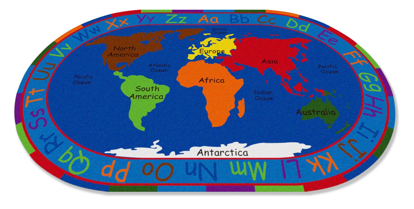 All Around the World Map Kids Rug Rug Size: 6' x 8'6