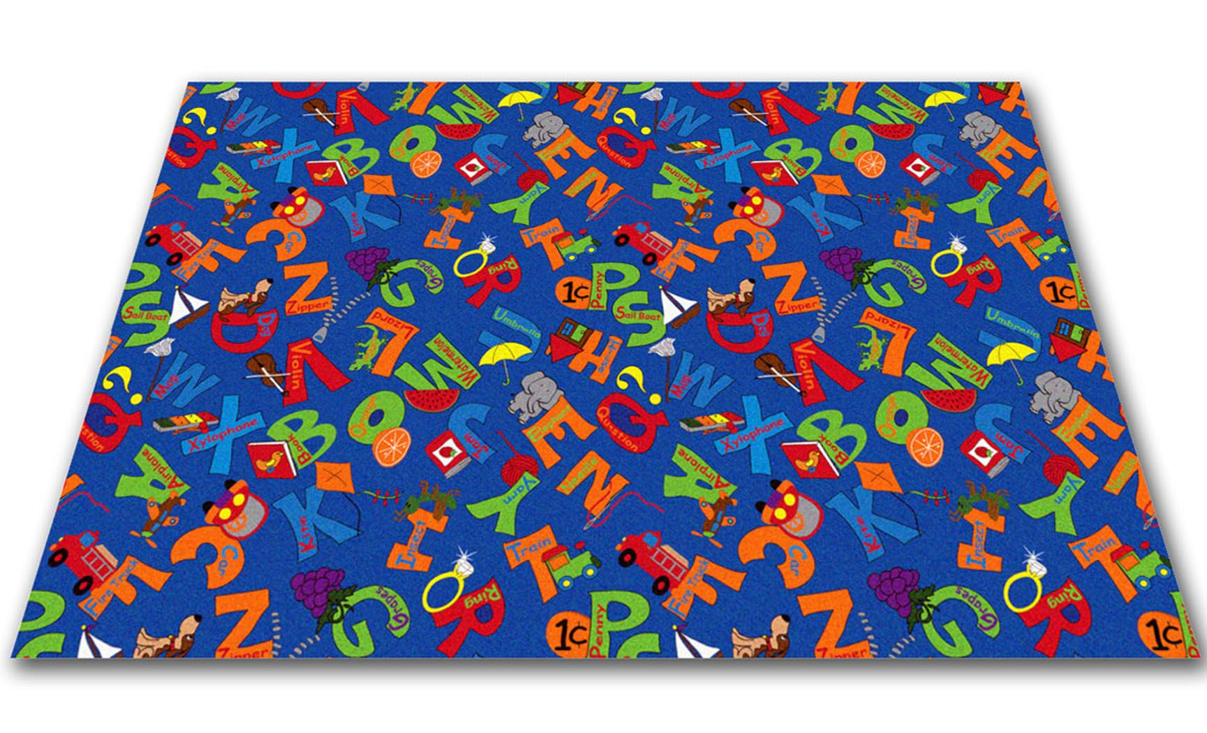 I Know My ABC's Children's Bluei Area Rug Rug Size: Rectangle 8' x 12'