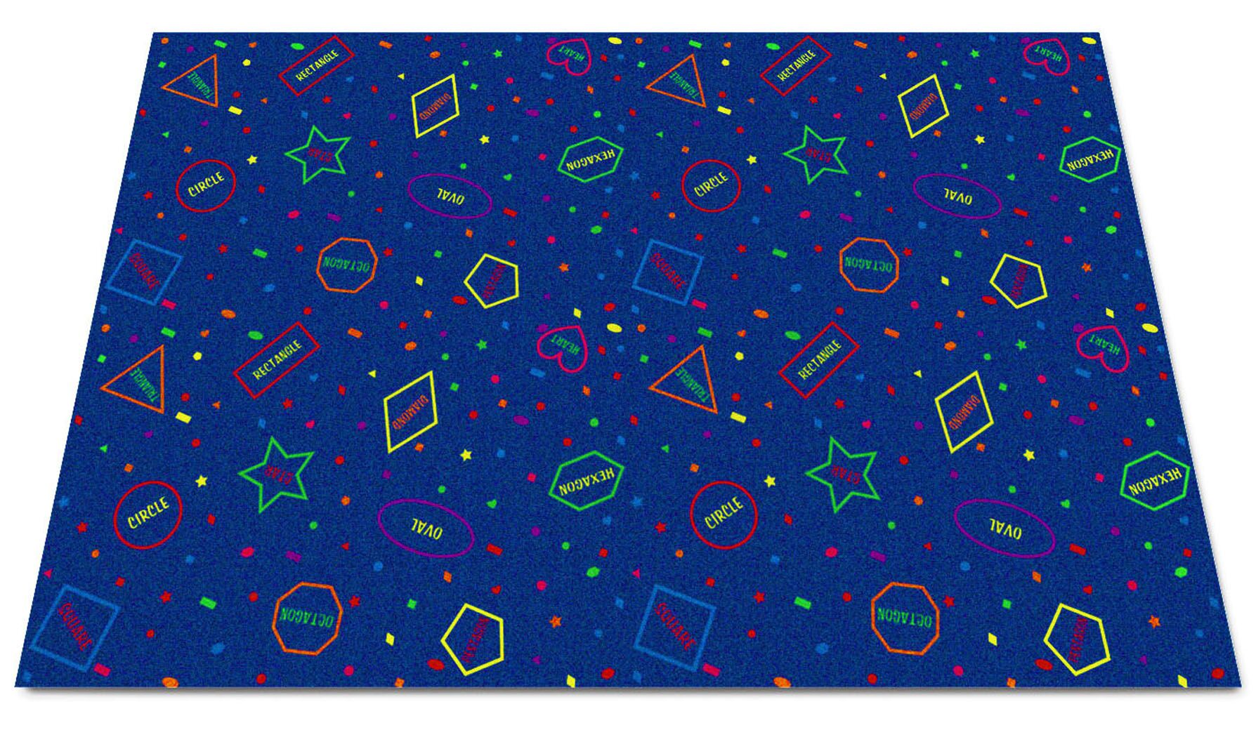 I Know My Shapes Blue Area Rug Rug Size: Rectangle 8' x 12'