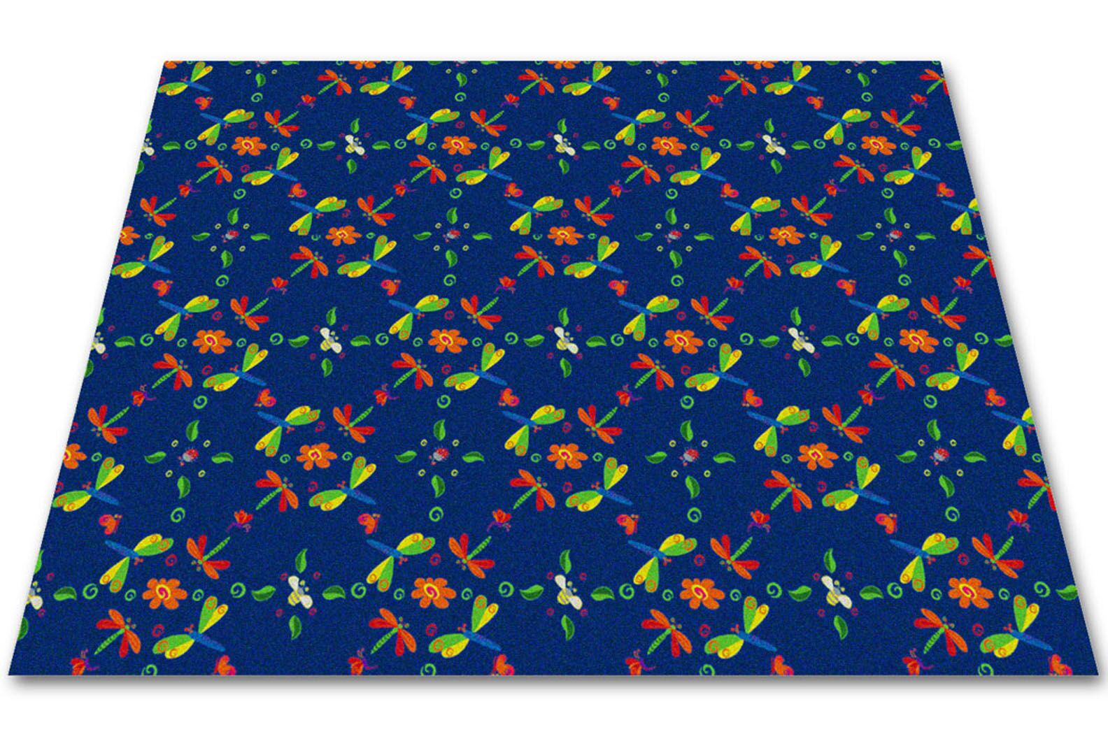 Dragonflies Play Area Rug Rug Size: Square 12'