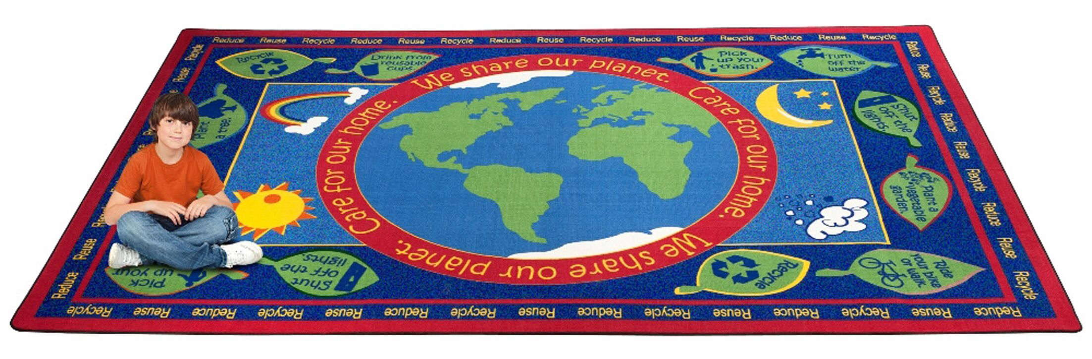 Earth Educational World Area Rug Rug Size: Rectangle 7'6