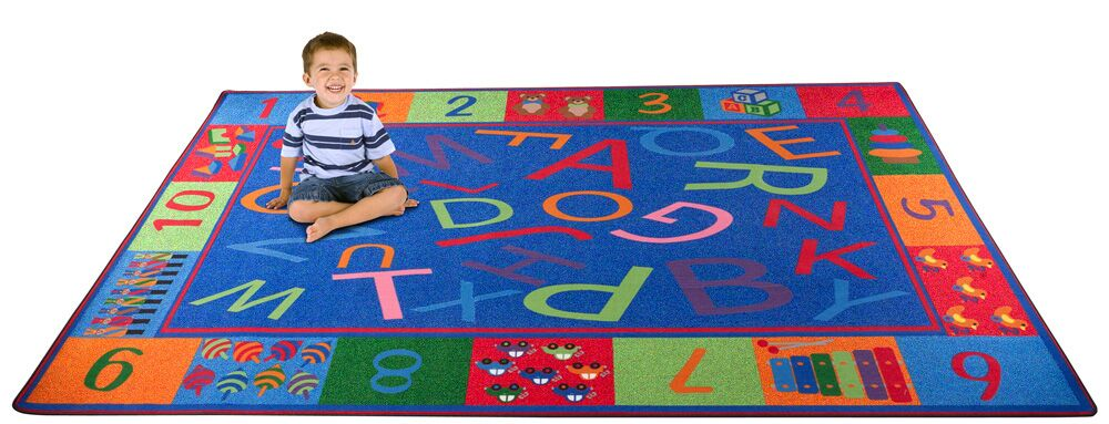 Alphabet and Numbers Teaching Toddler Area Rug Rug Size: 6' x 8'6