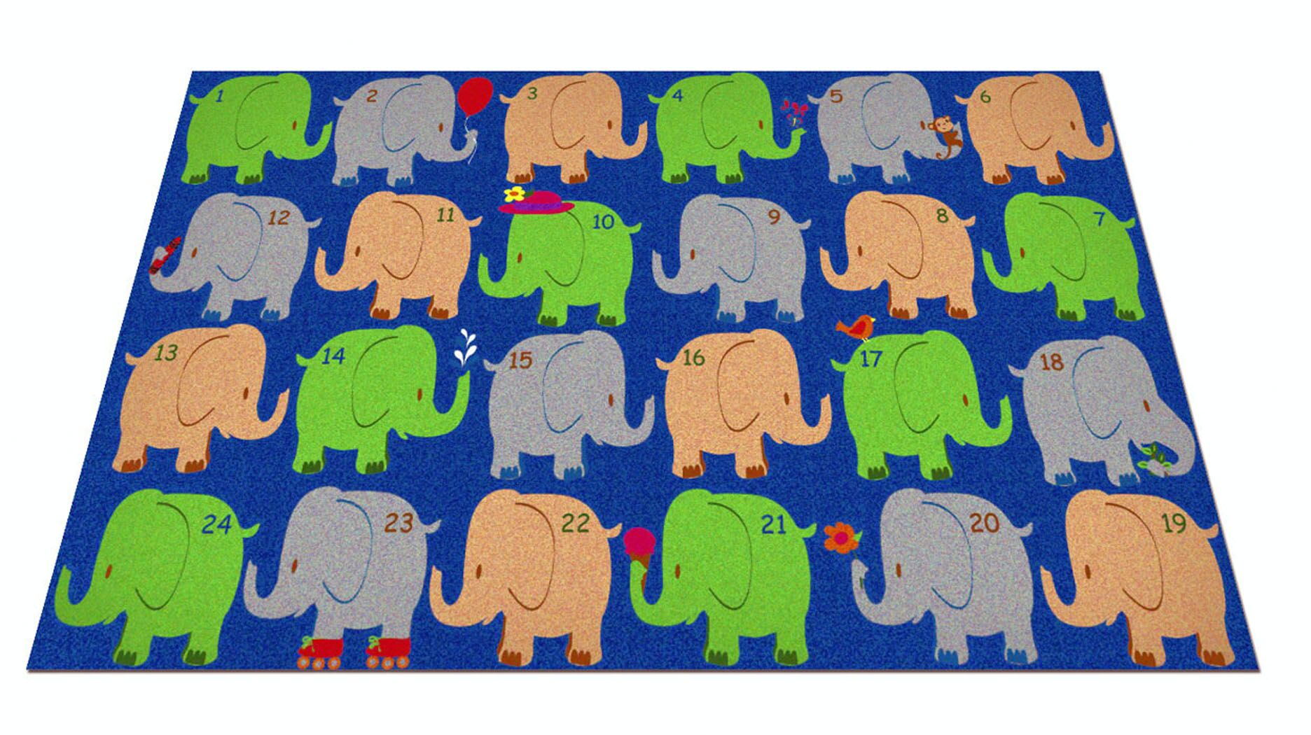 Elephant Seating Classroom Area Rug Rug Size: Rectangle 7'6
