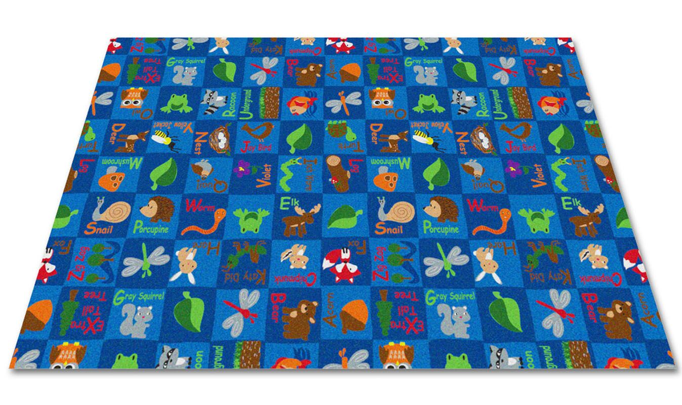 Animals In The Forest Blue Area Rug Rug Size: Rectangle 12' x 24'