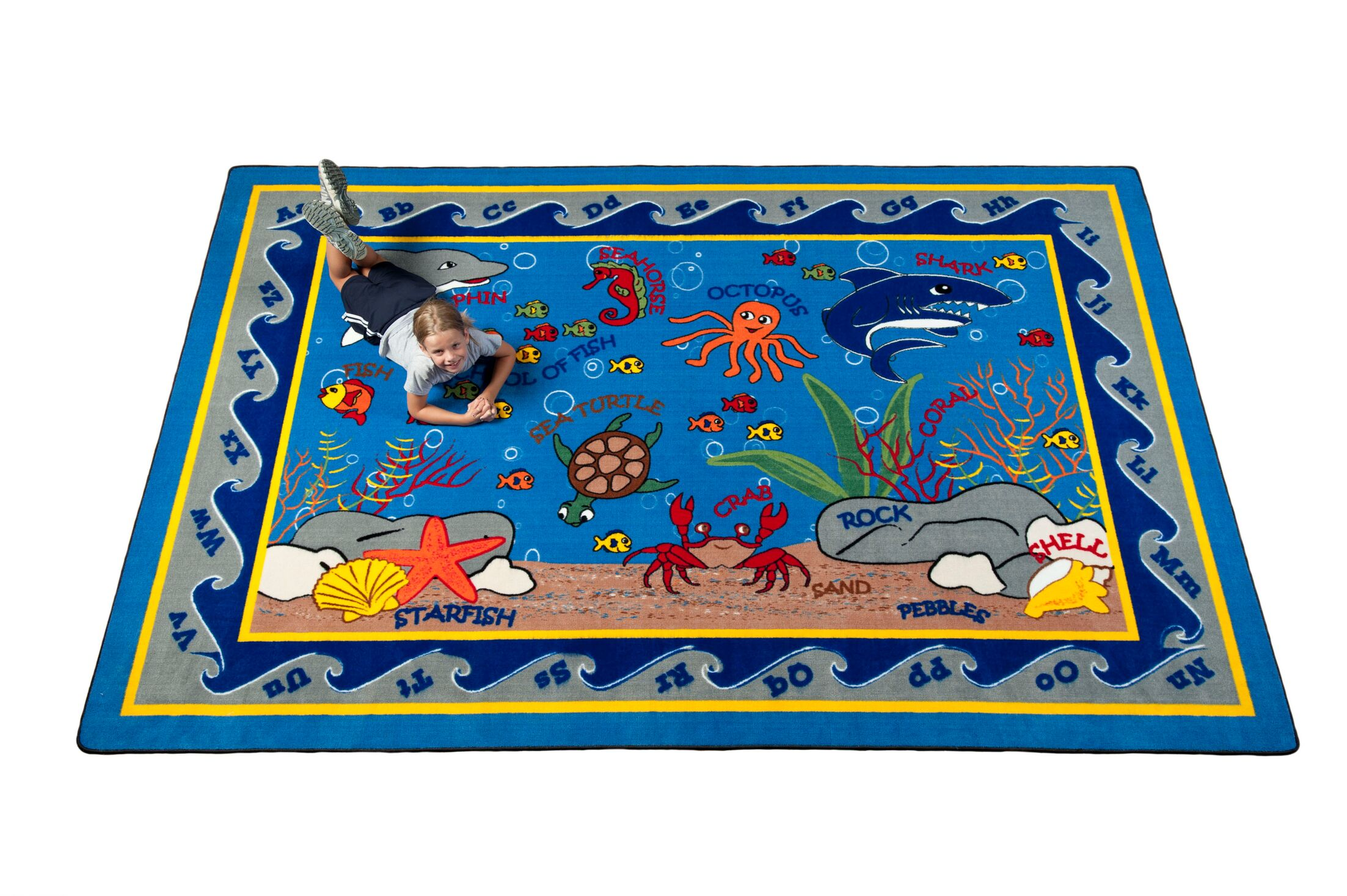 Fish in the Sea Area Rug Rug Size: Rectangle 6' x 8'6