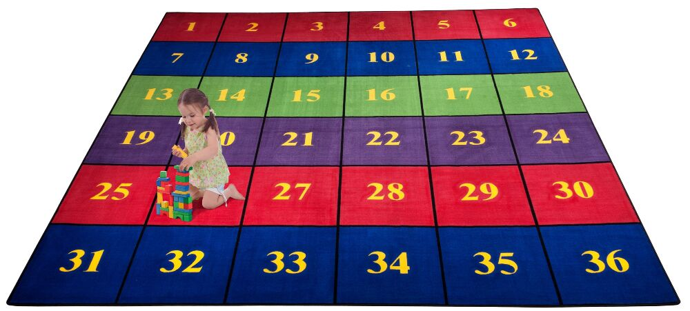 Classroom Seating Squares Area Rug Rug Size: Square 12'