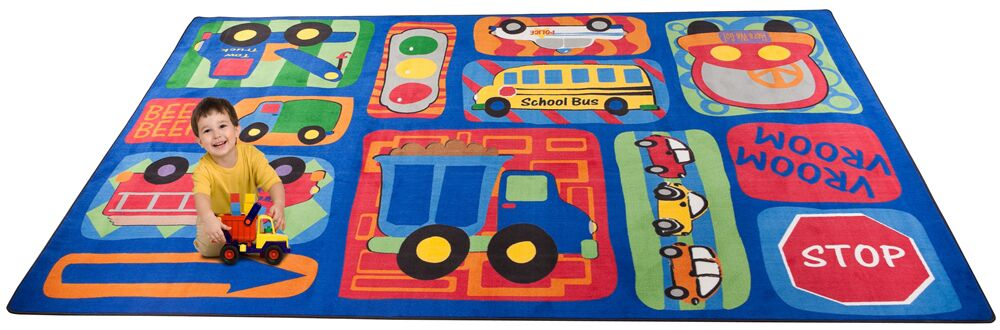 Vroom Vroom Car Play Area Rug Rug Size: Rectangle 4' x 6'
