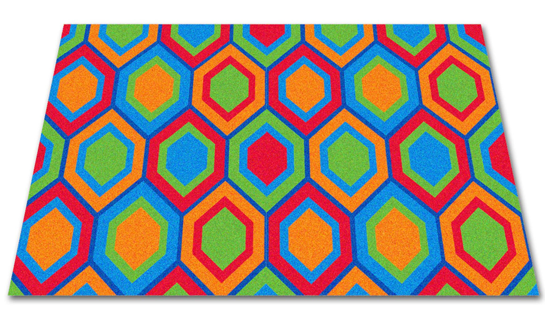 Sitting Hexagons Area Rug Rug Size: Square 12'