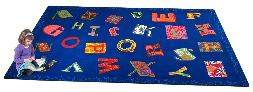 Patchwork ABC Blue Area Rug Rug Size: 6' x 8'6