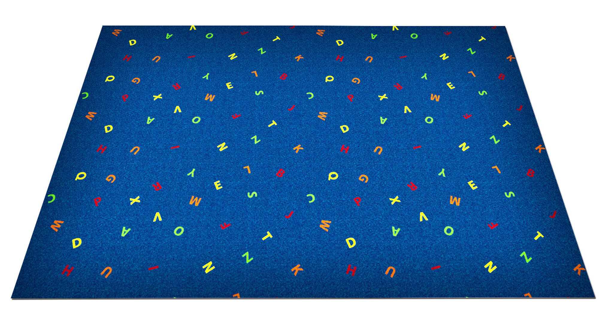 Blue Scattered Letters Area Rug Rug Size: Rectangle 6' x 12'