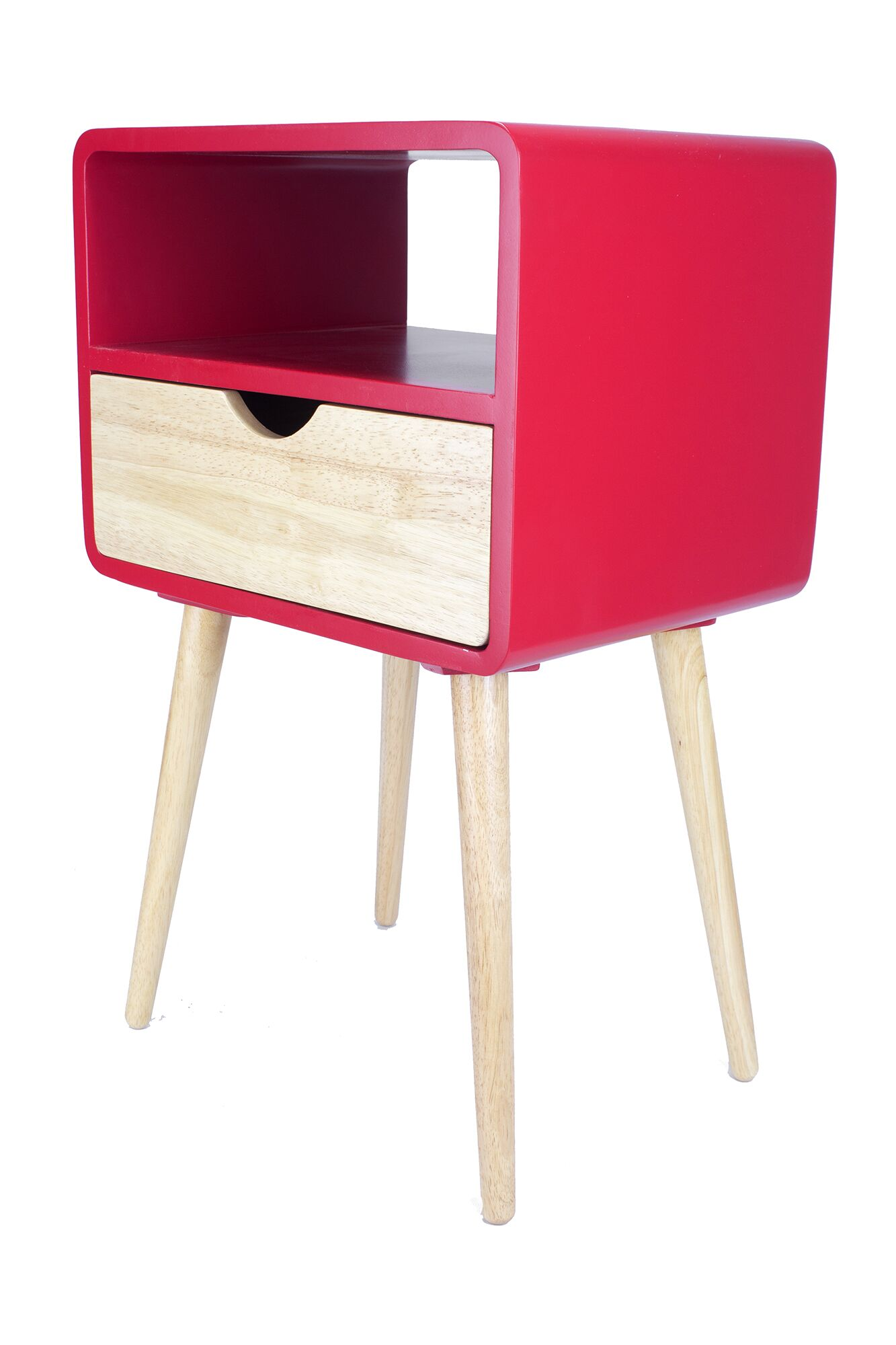 Euro 1 Drawer End Table Color: Red