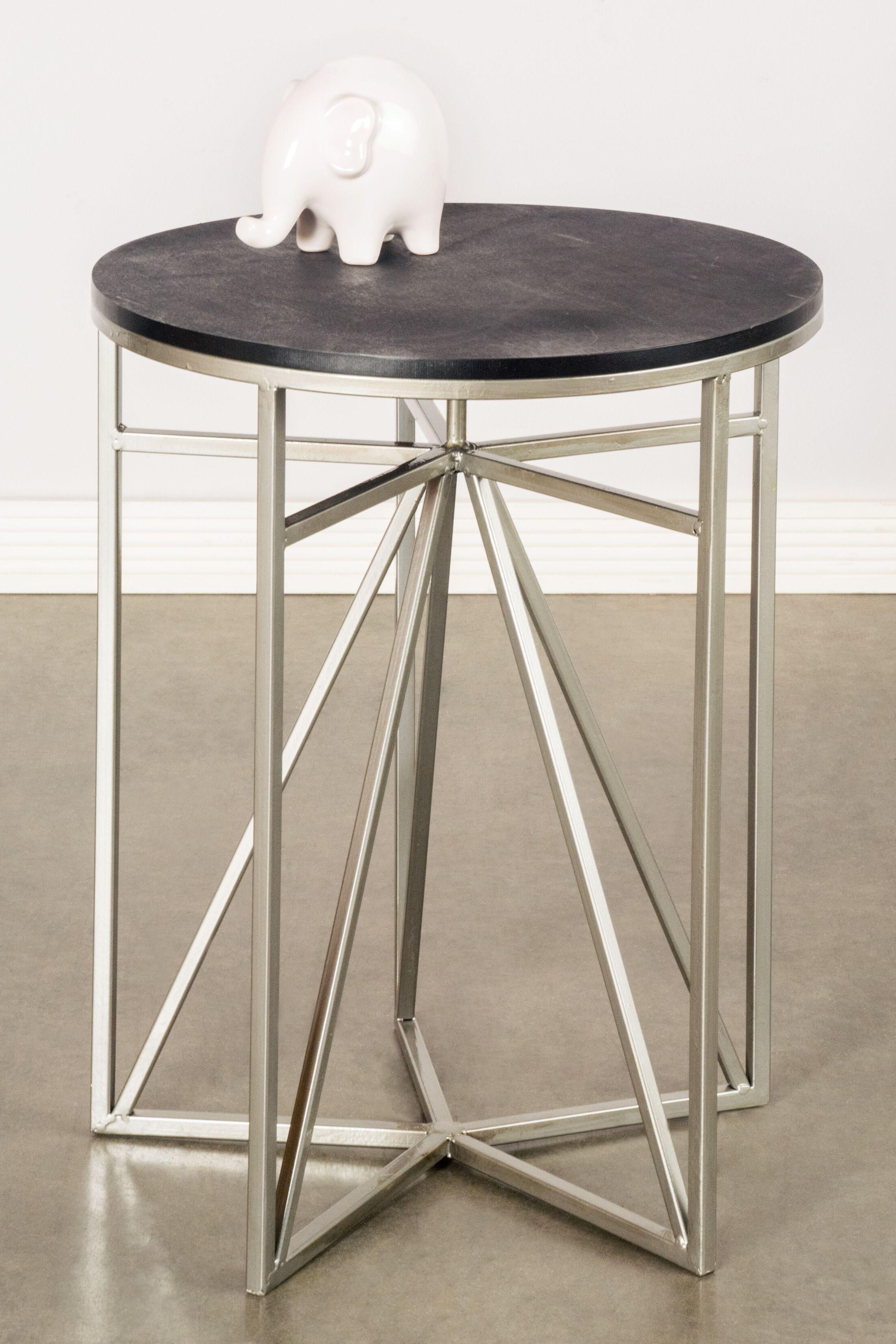 Athena End Table Top / Base Color: Black / Silver