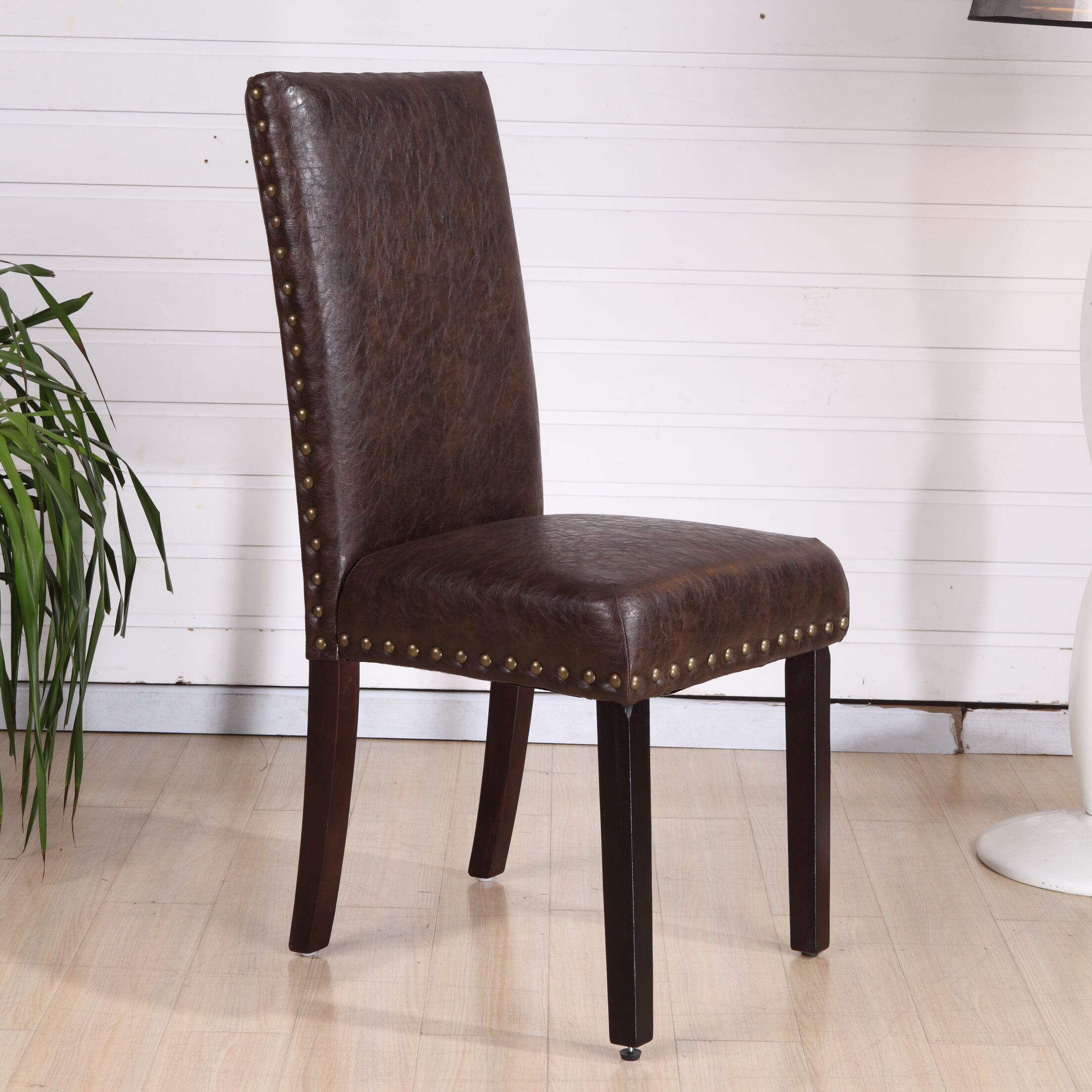 Classic Genuine Leather Upholstered Dining Chair Upholstery Color: Espresso